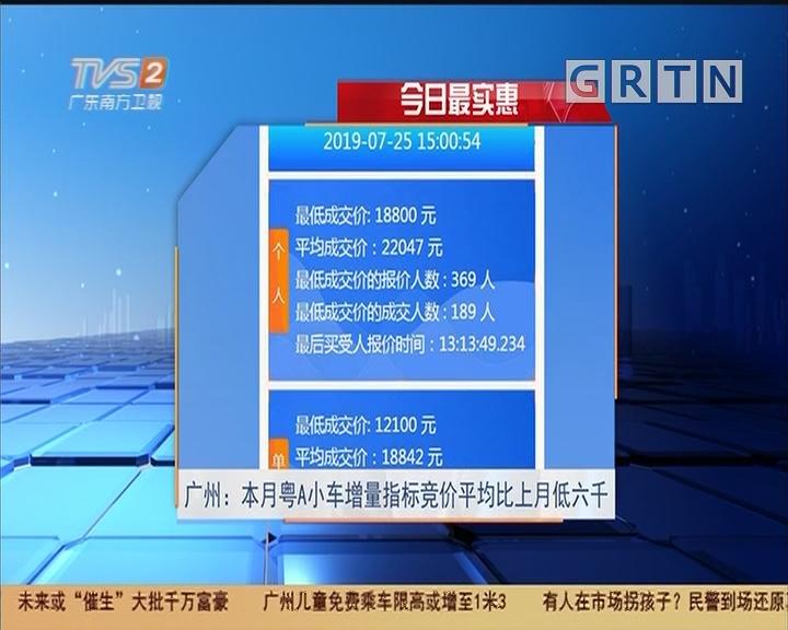 今日最实惠 广州:本月粤A小车增量指标竞价平均比上月低六千