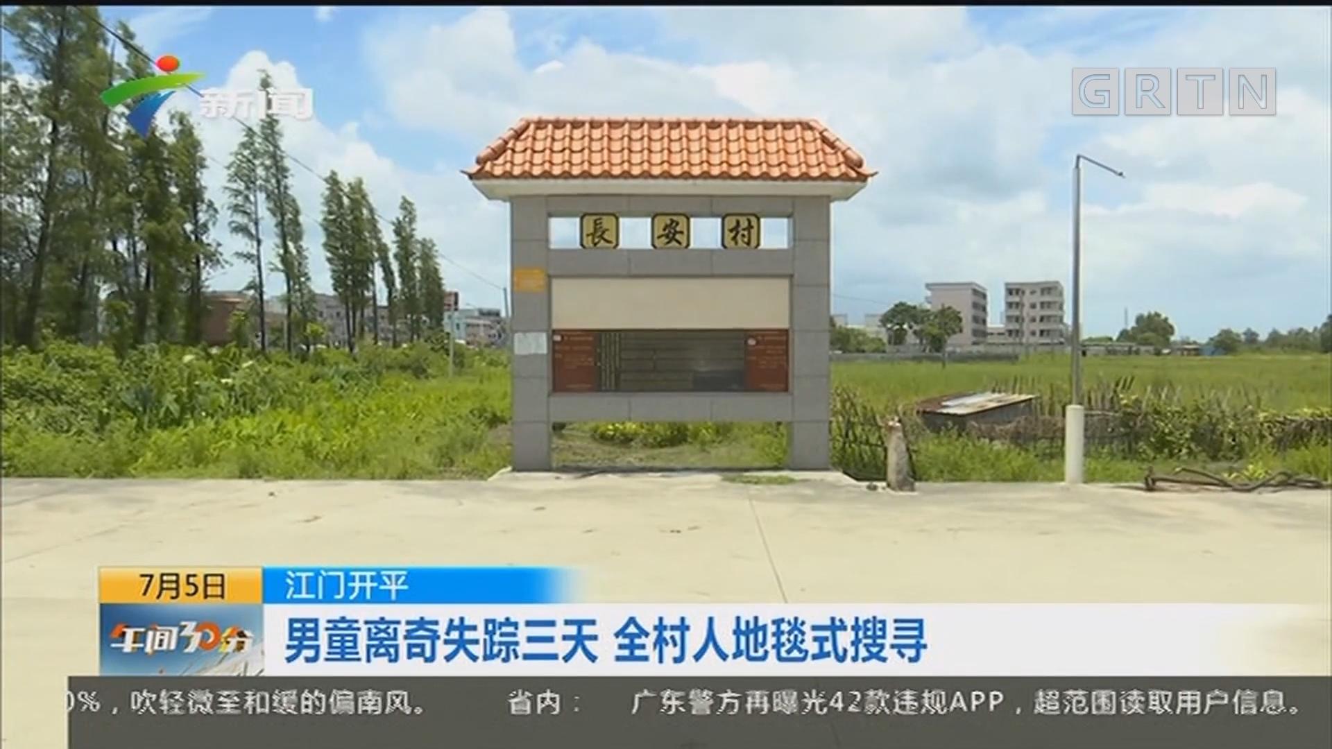 江门开平:男童离奇失踪三天 全村人地毯式搜寻
