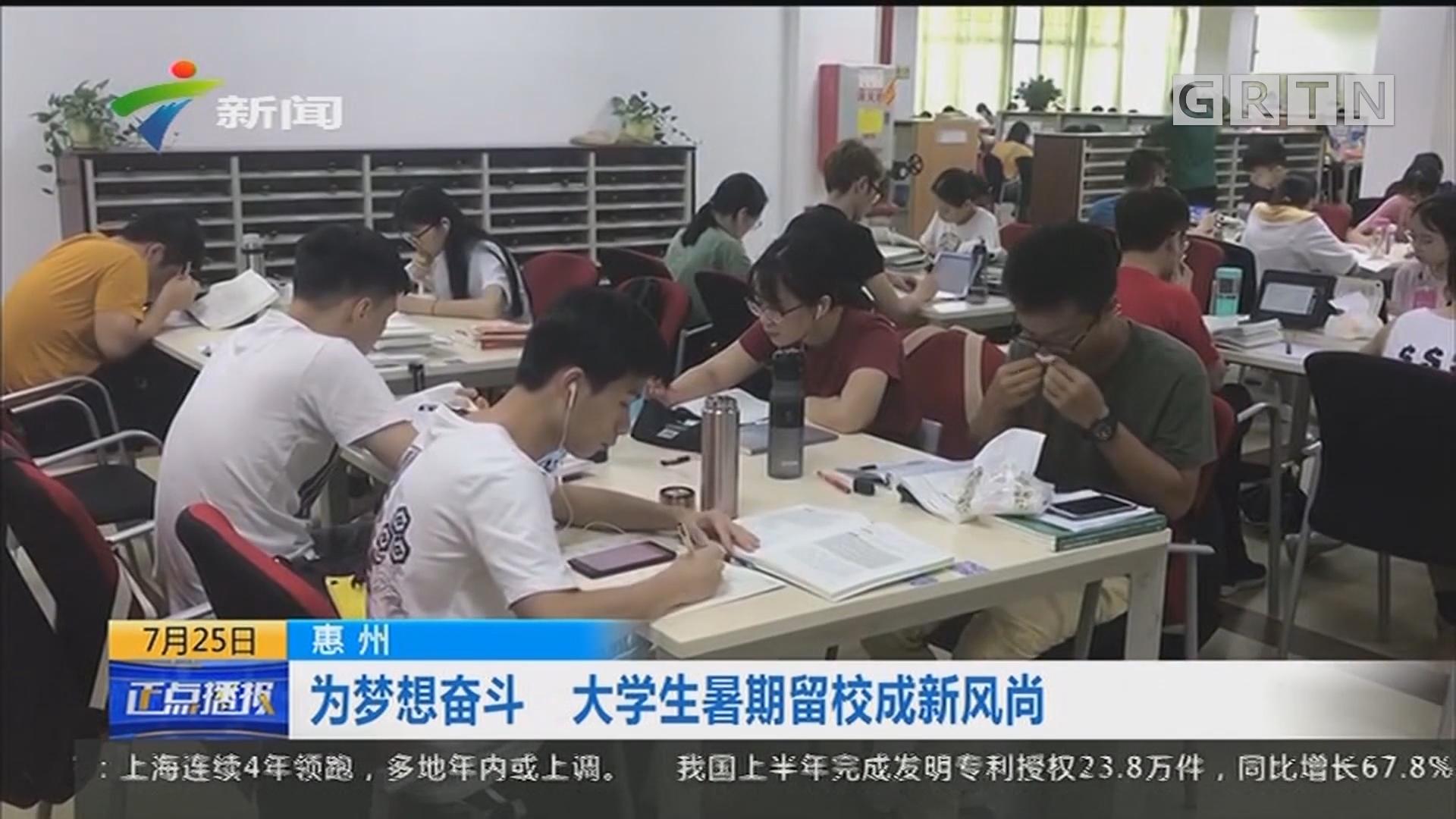 惠州:为梦想奋斗 大学生暑期留校成新风尚