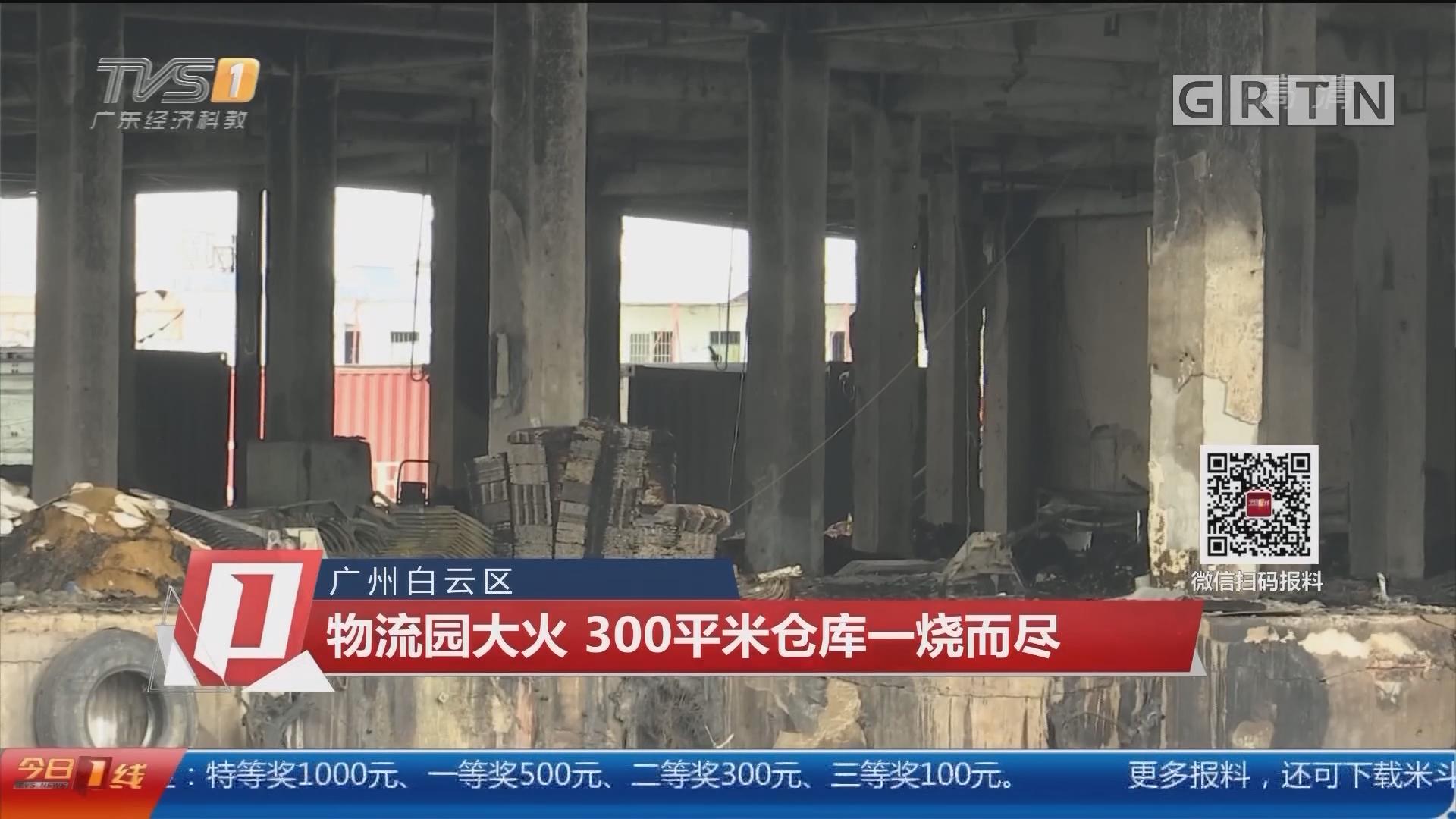广州白云区:物流园大火 300平米仓库一烧而尽