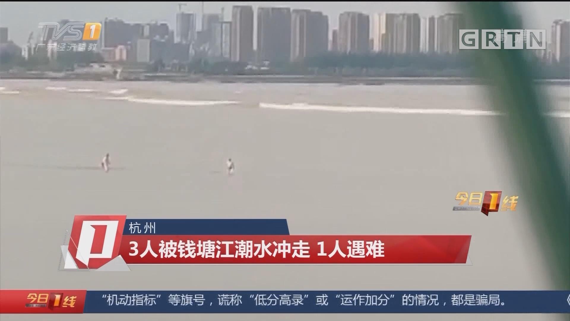杭州:3人被钱塘江潮水冲走 1人遇难