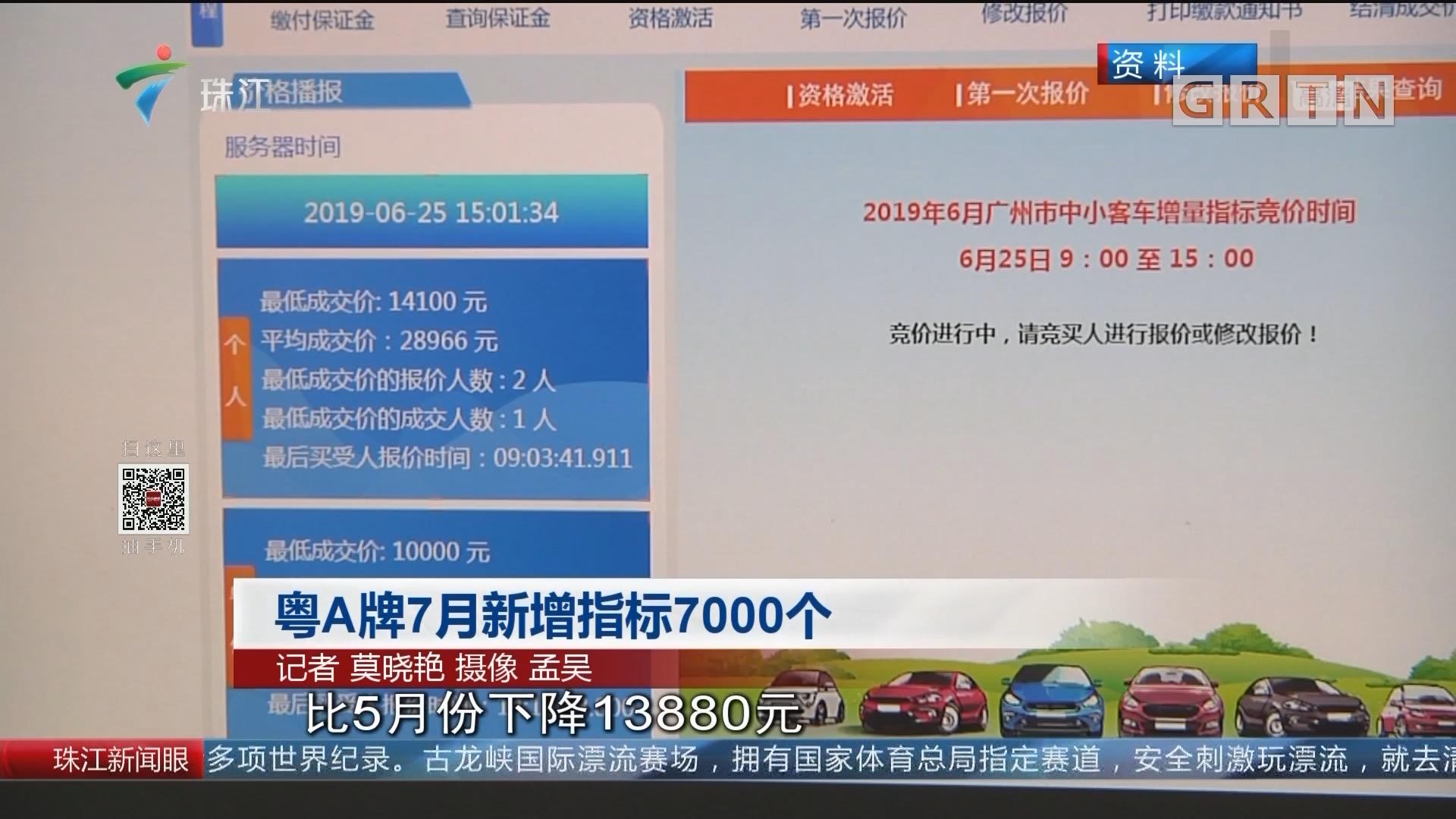 粤A牌7月新增指标7000个