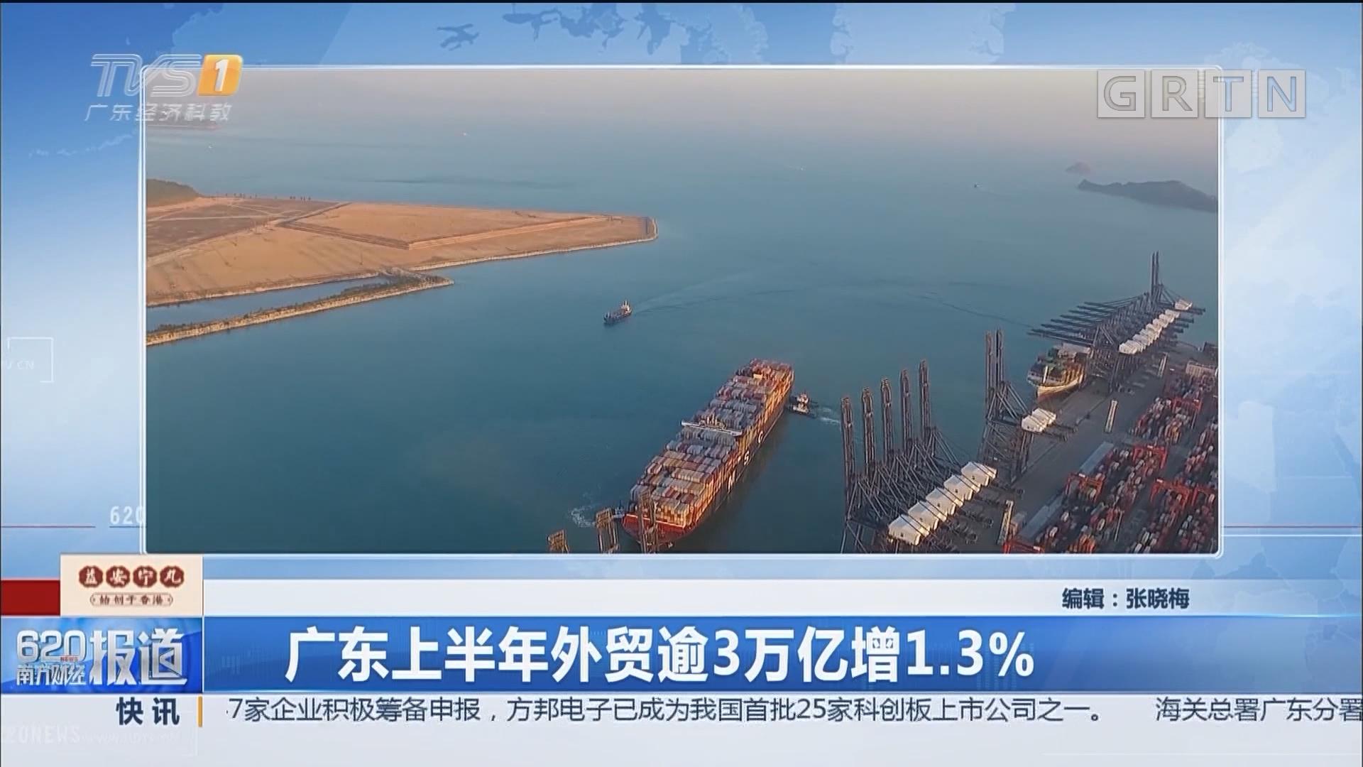 广东上半年外贸逾3万亿增1.3%