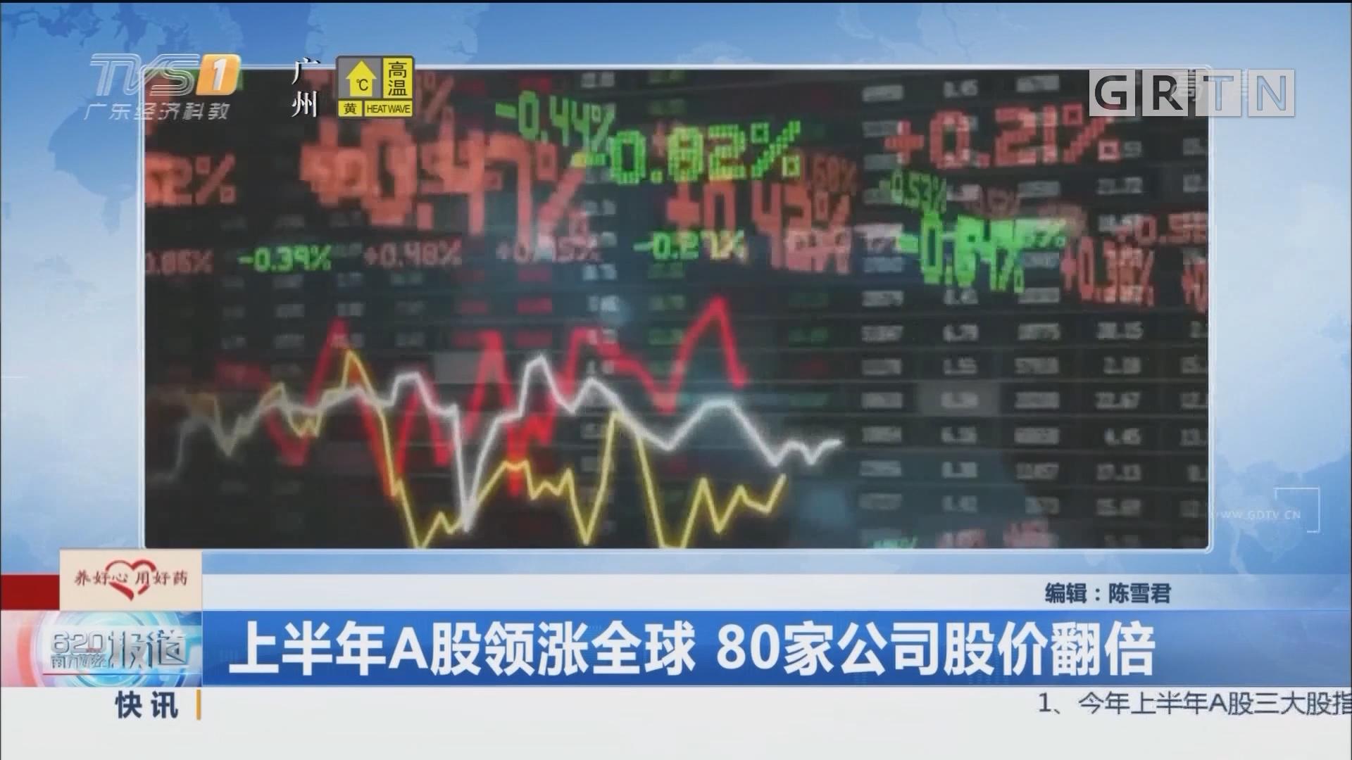 上半年A股领涨全球 80家公司股价翻倍
