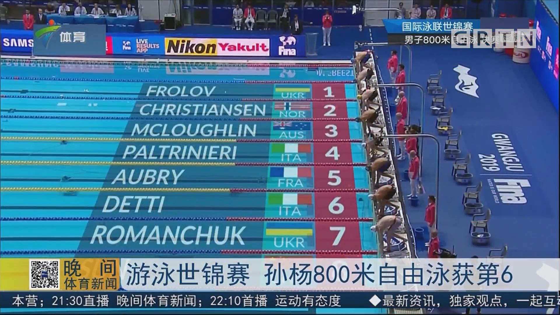 游泳世锦赛 孙杨800米自由泳获第6
