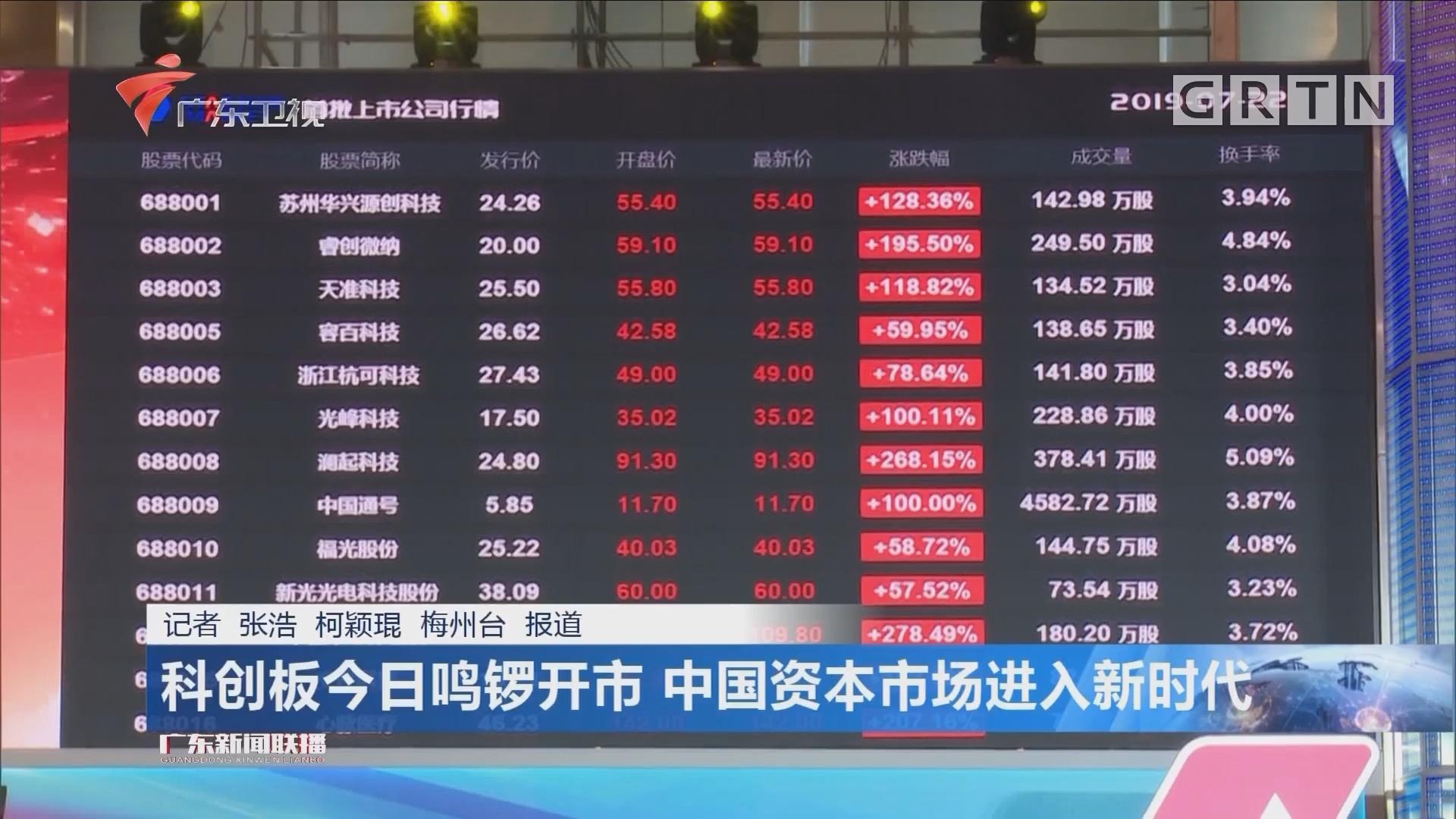 科创板今日鸣锣开市 中国资本市场进入新时代