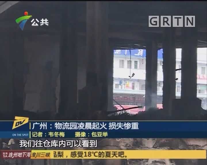 广州:物流园凌晨起火 损失惨重
