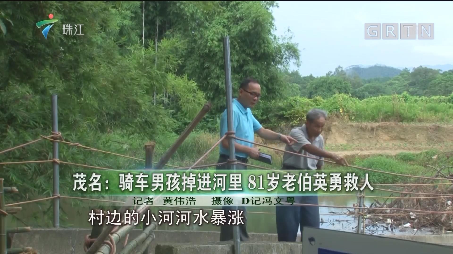 茂名:骑车男孩掉进河里 81岁老伯英勇救人