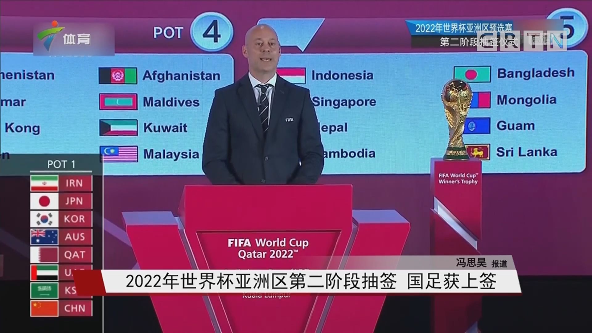 2022年世界杯亚洲区第二阶段抽签 国足获上签