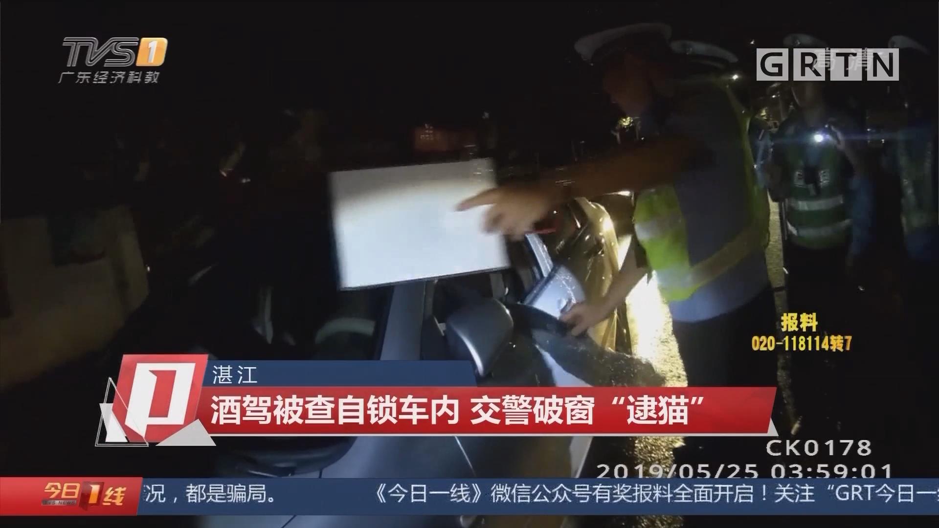 """湛江:酒駕被查自鎖車內 交警破窗""""逮貓"""""""