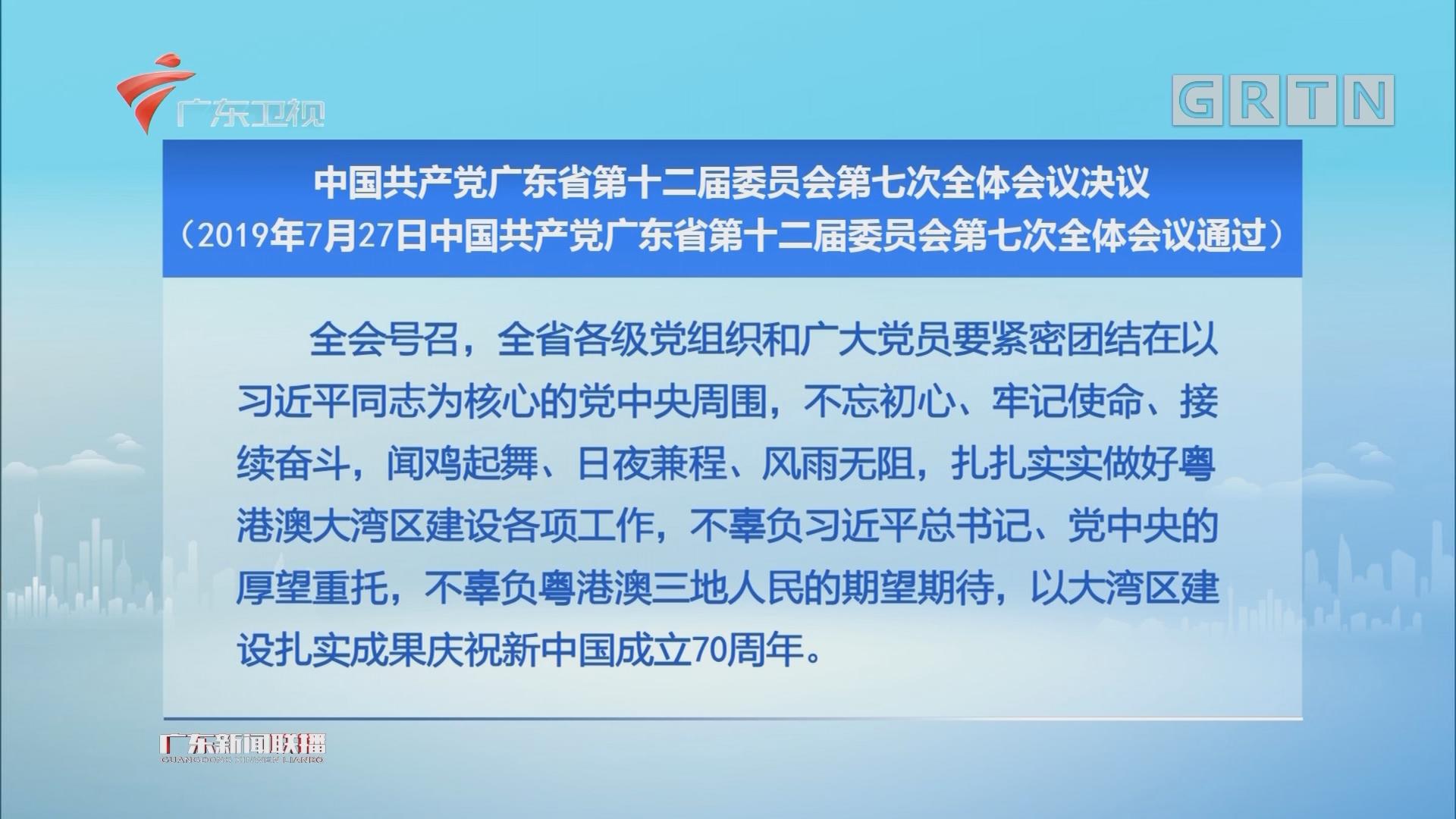 中国共产党广东省第十二届委员会第七次全体会议决议