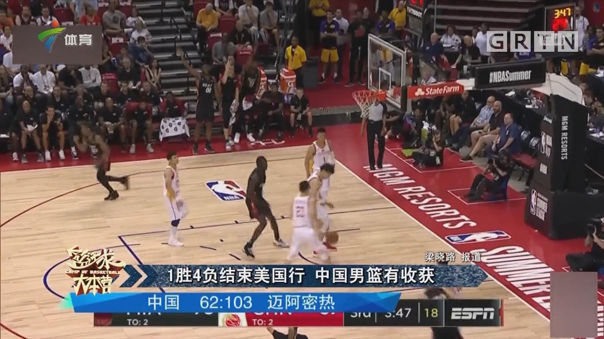 1胜4负结束美国行 中国男篮有收获