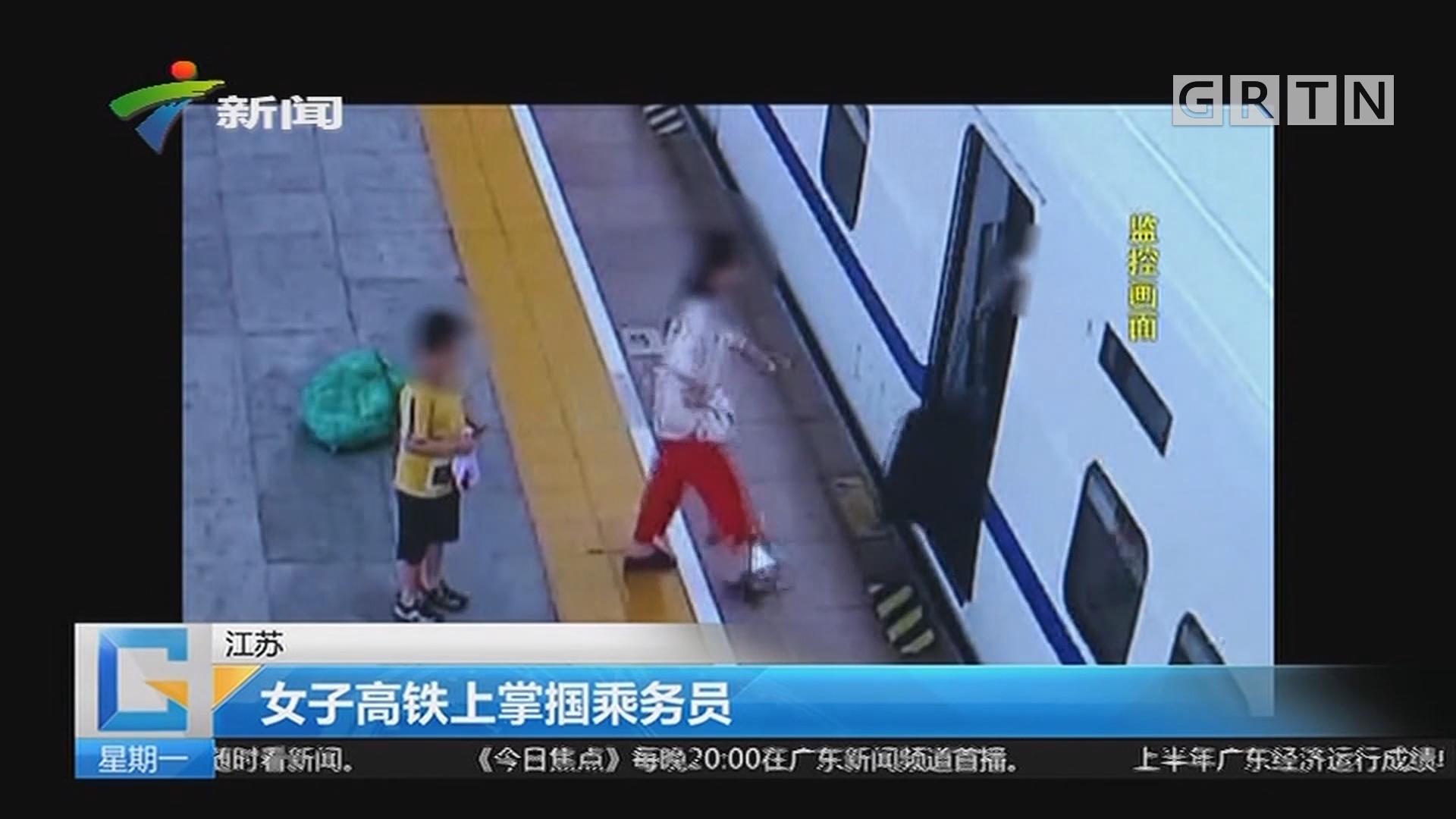 江苏:女子高铁上掌捆乘务员