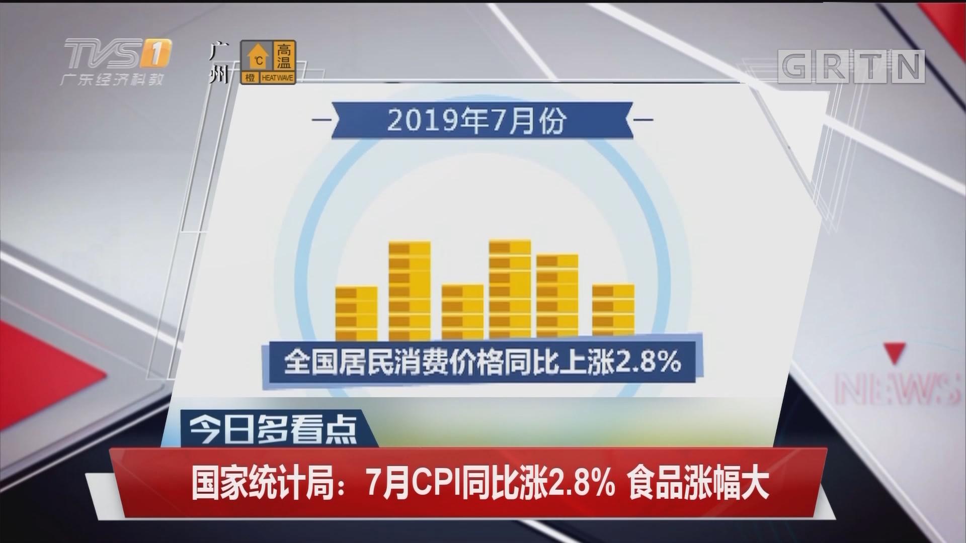 国家统计局:7月CPI同比涨2.8% 食品涨幅大