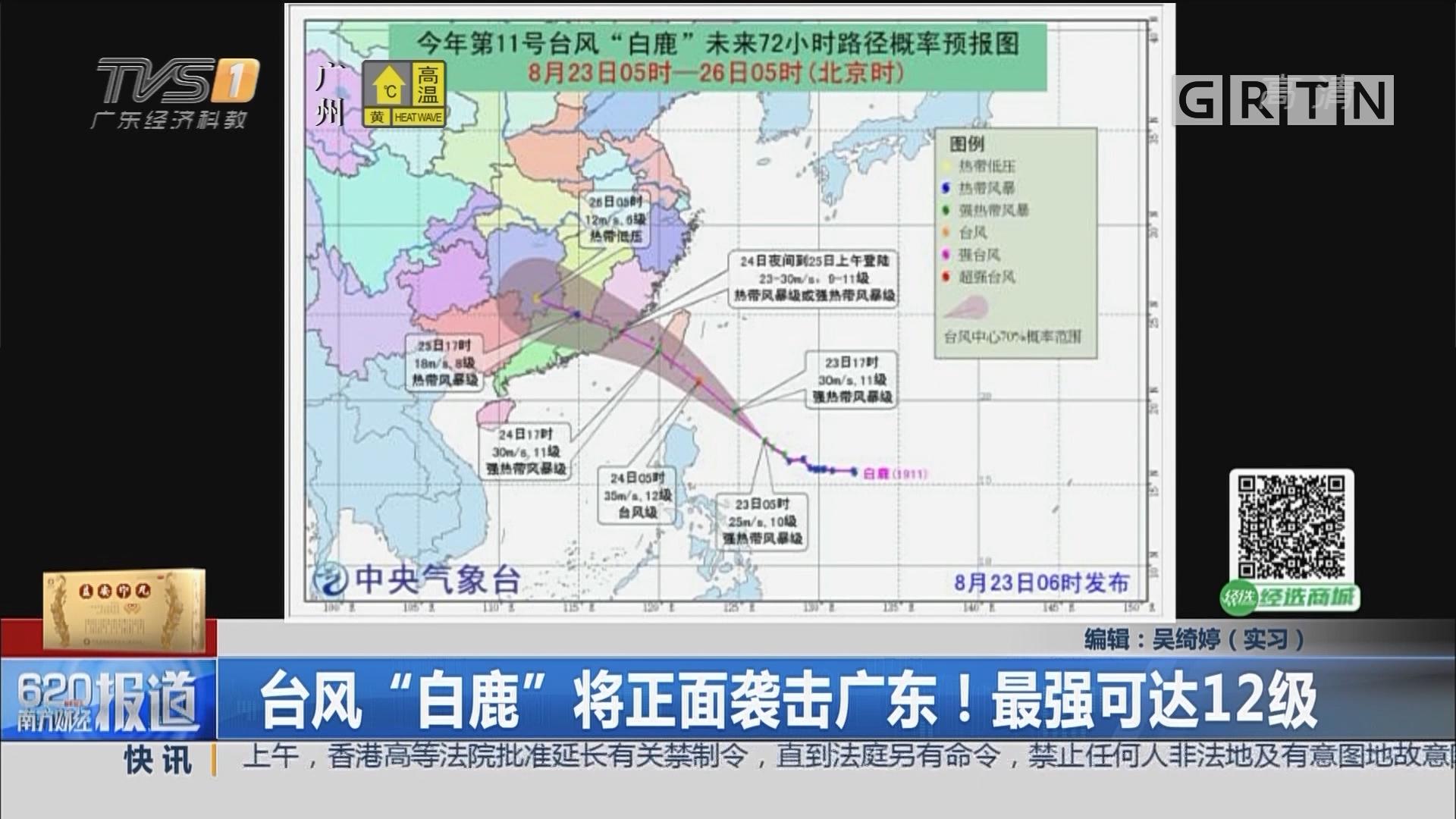 """台风""""白鹿""""将正面袭击广东!最强可达12级"""