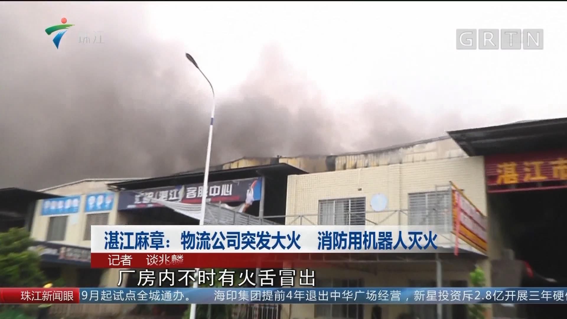 湛江麻章:物流公司突发大火 消防用机器人灭火