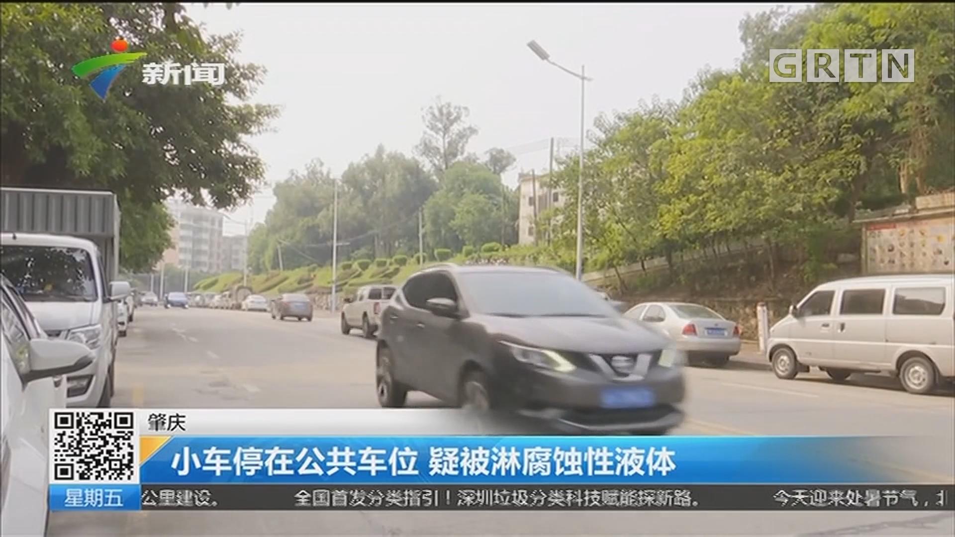肇庆:小车停在公共车位 疑被淋腐蚀性液体