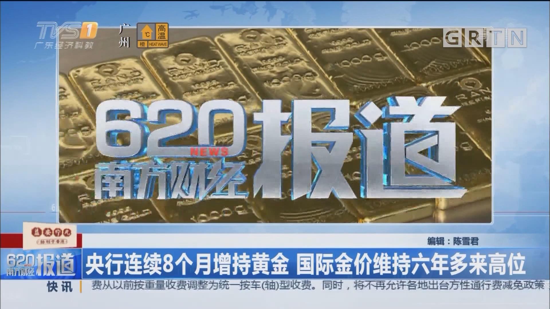 央行连续8个月增持黄金 国际金价维持六年多来高位
