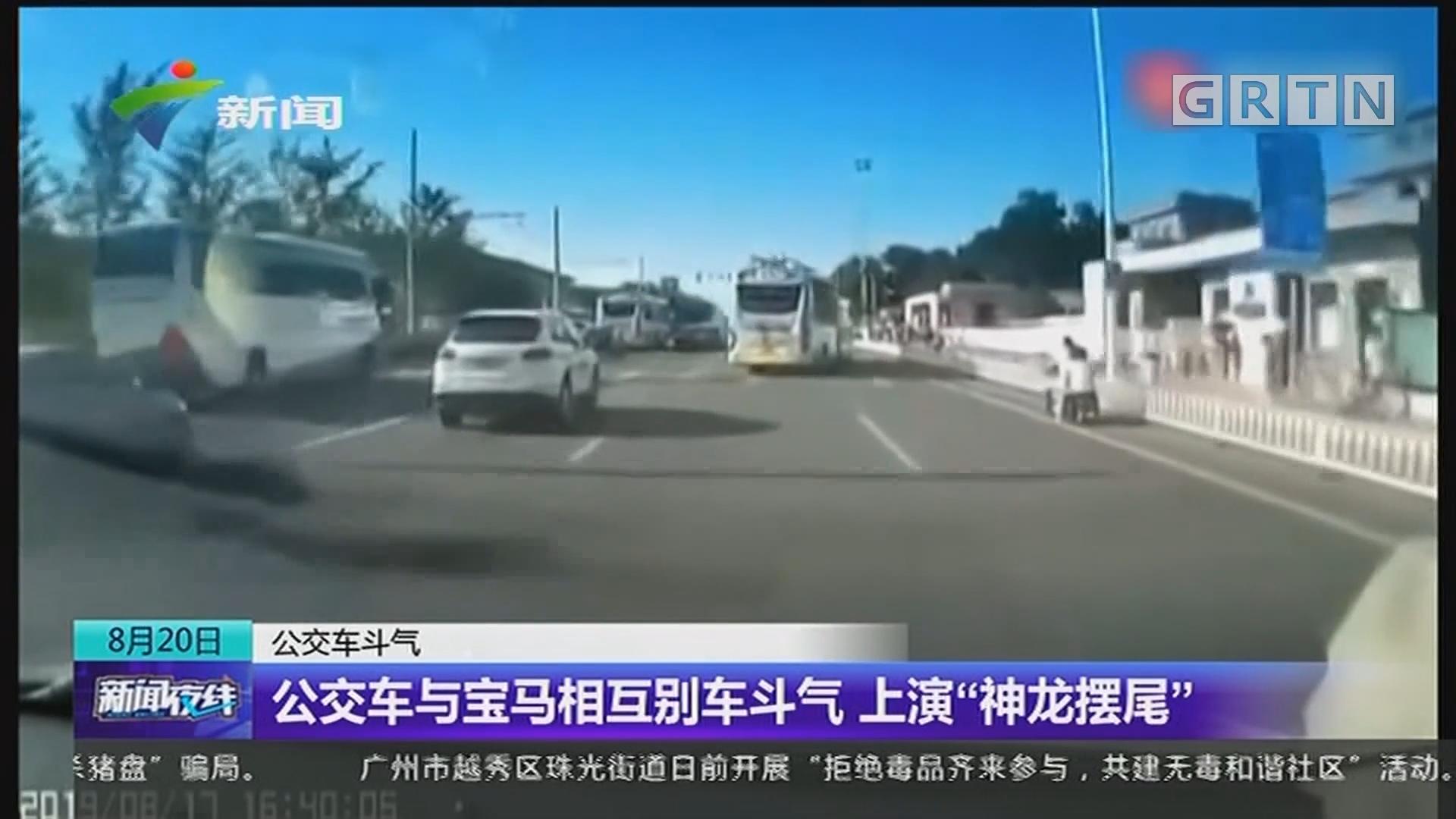 """公交车斗气:公交车与宝马相互别车斗气 上演""""神龙摆尾"""""""