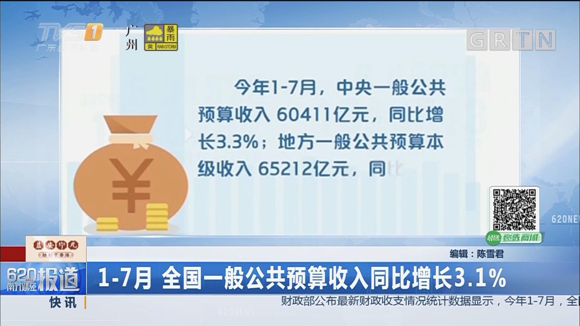 1-7月 全国一般公共预算收入同比增长3.1%