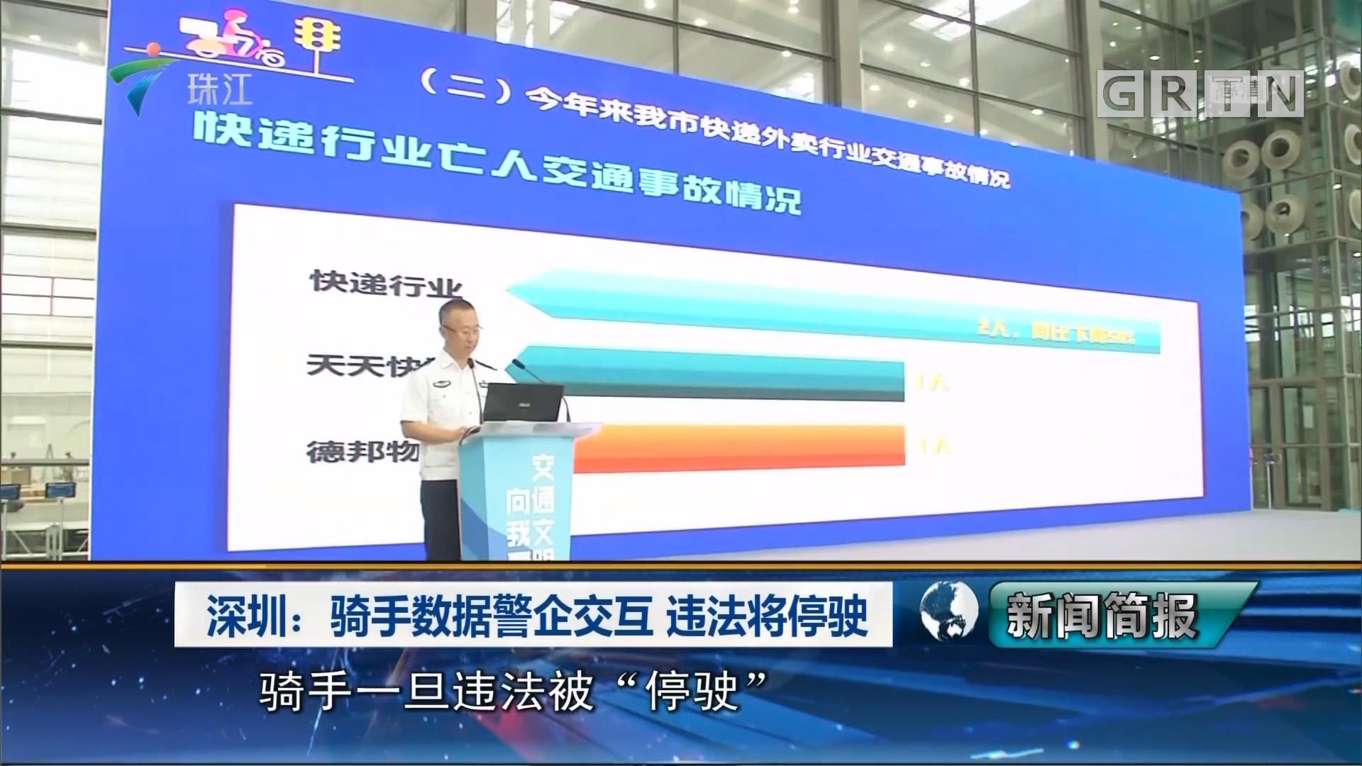 深圳:骑手数据警企交互 违法将停驶