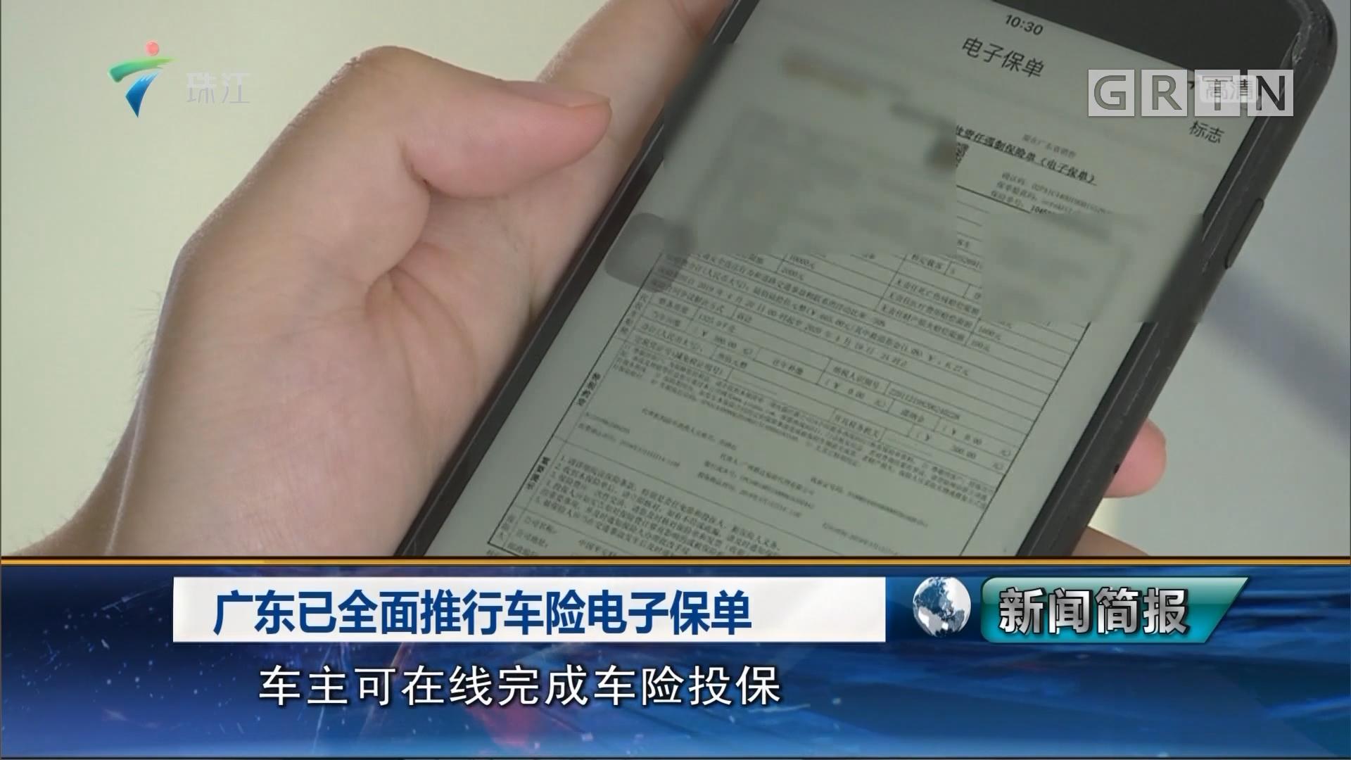 广东已全面推行车险电子保单