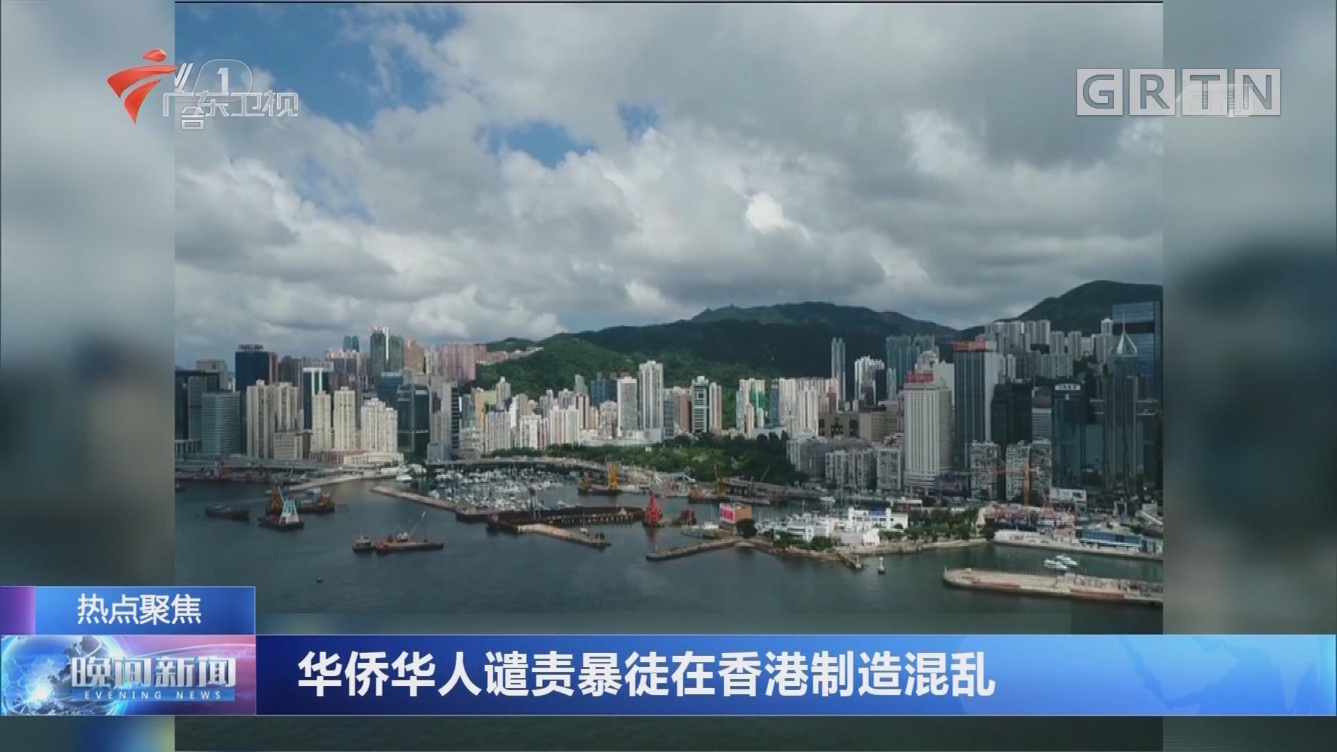 华侨华人谴责暴徒在香港制造混乱