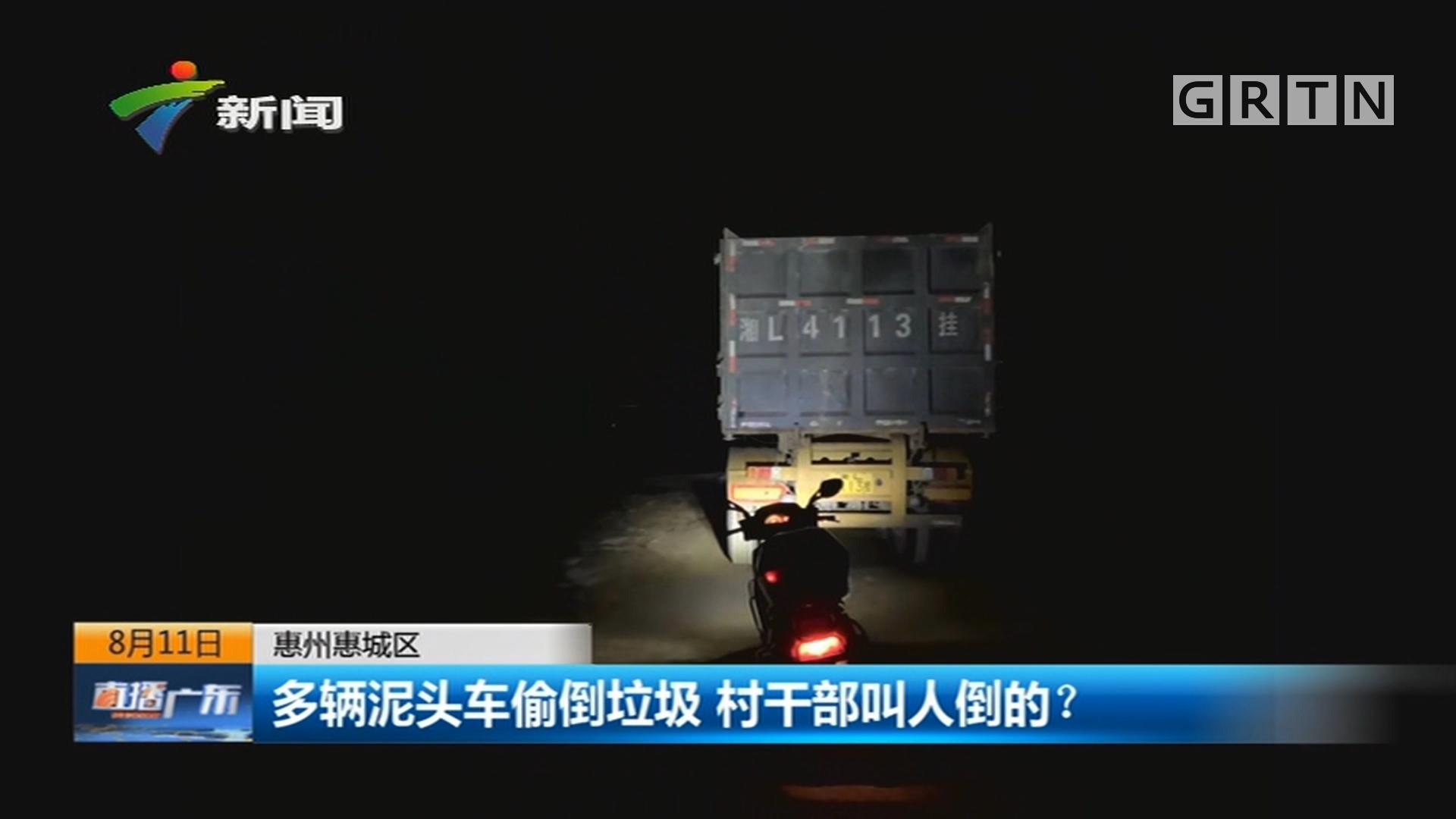 惠州惠城区 多辆泥头车偷倒垃圾 村干部叫人倒的?