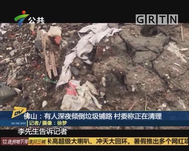佛山:有人深夜倾倒垃圾铺路 村委称正在清理