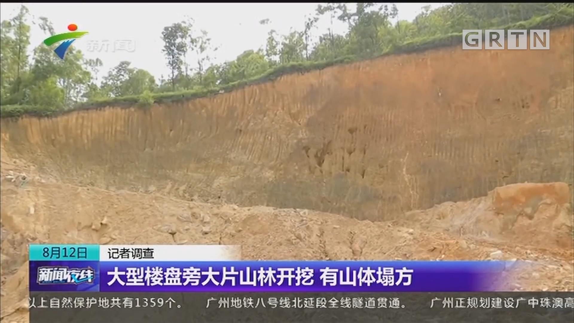 大型楼盘旁大片山林开挖 有山体塌方
