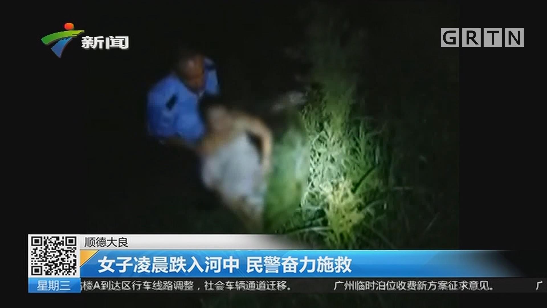 顺德大良:女子凌晨跌入河中 民警奋力施救
