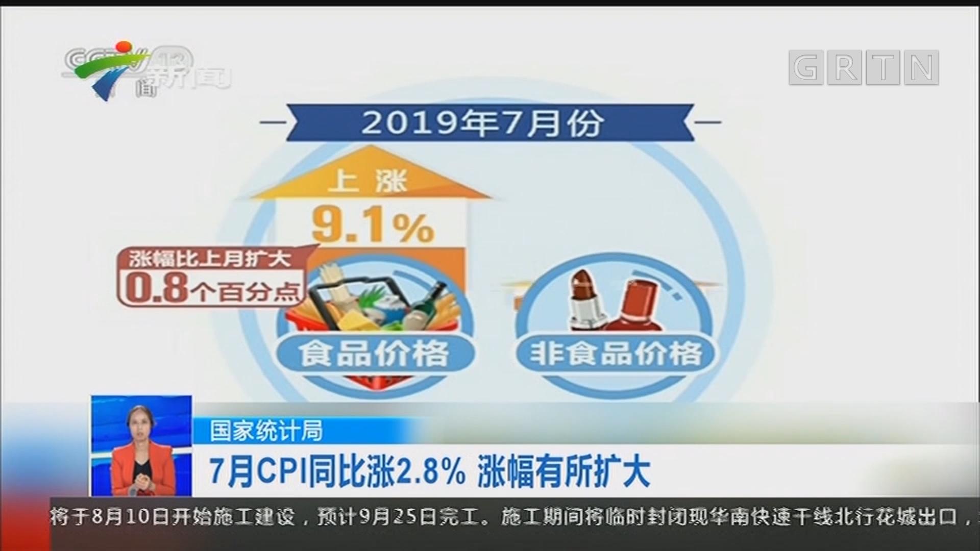国家统计局:7月CPI同比涨2.8% 涨幅有所扩大