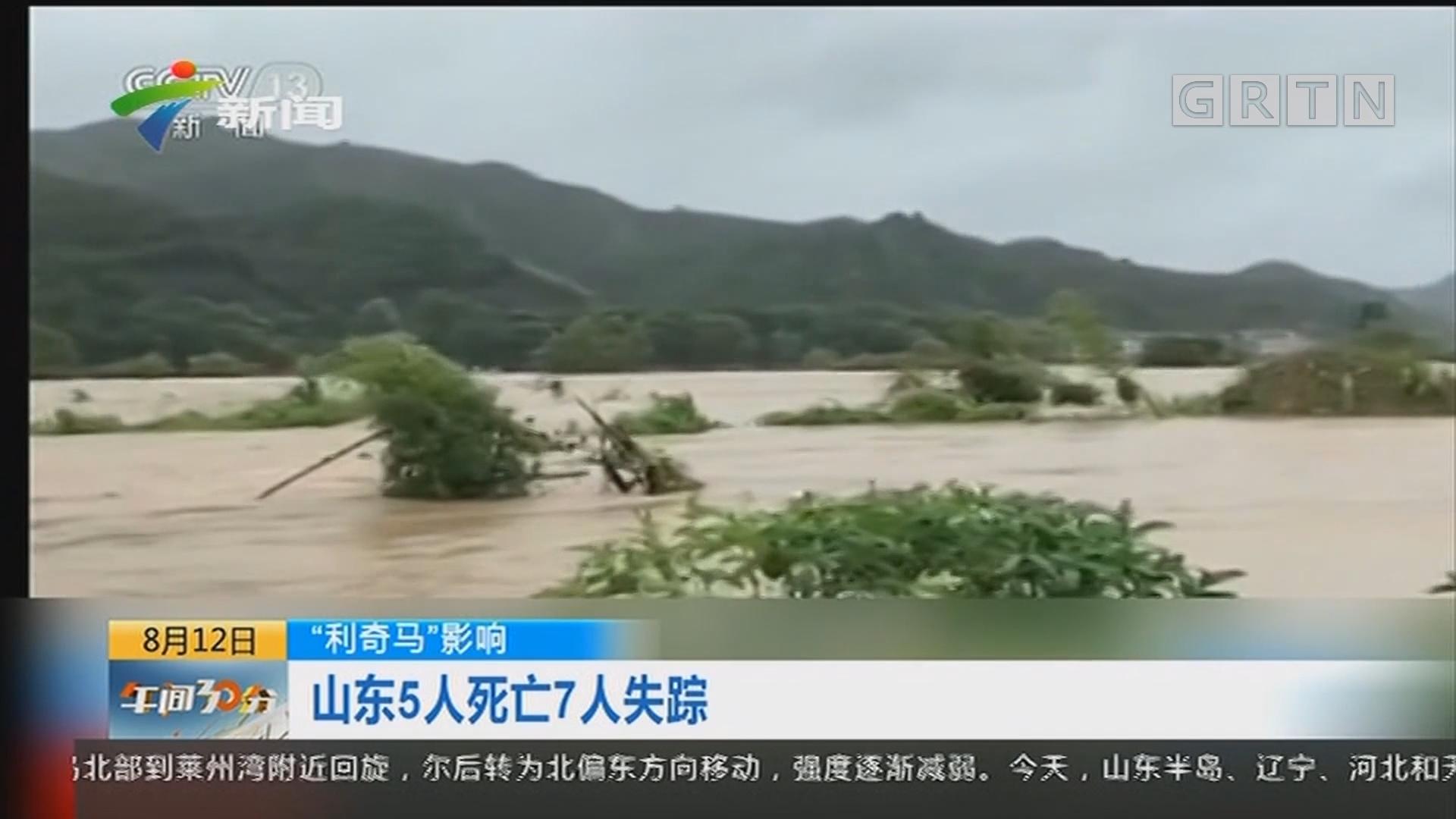 """""""利奇马""""影响:山东5人死亡7人失踪"""