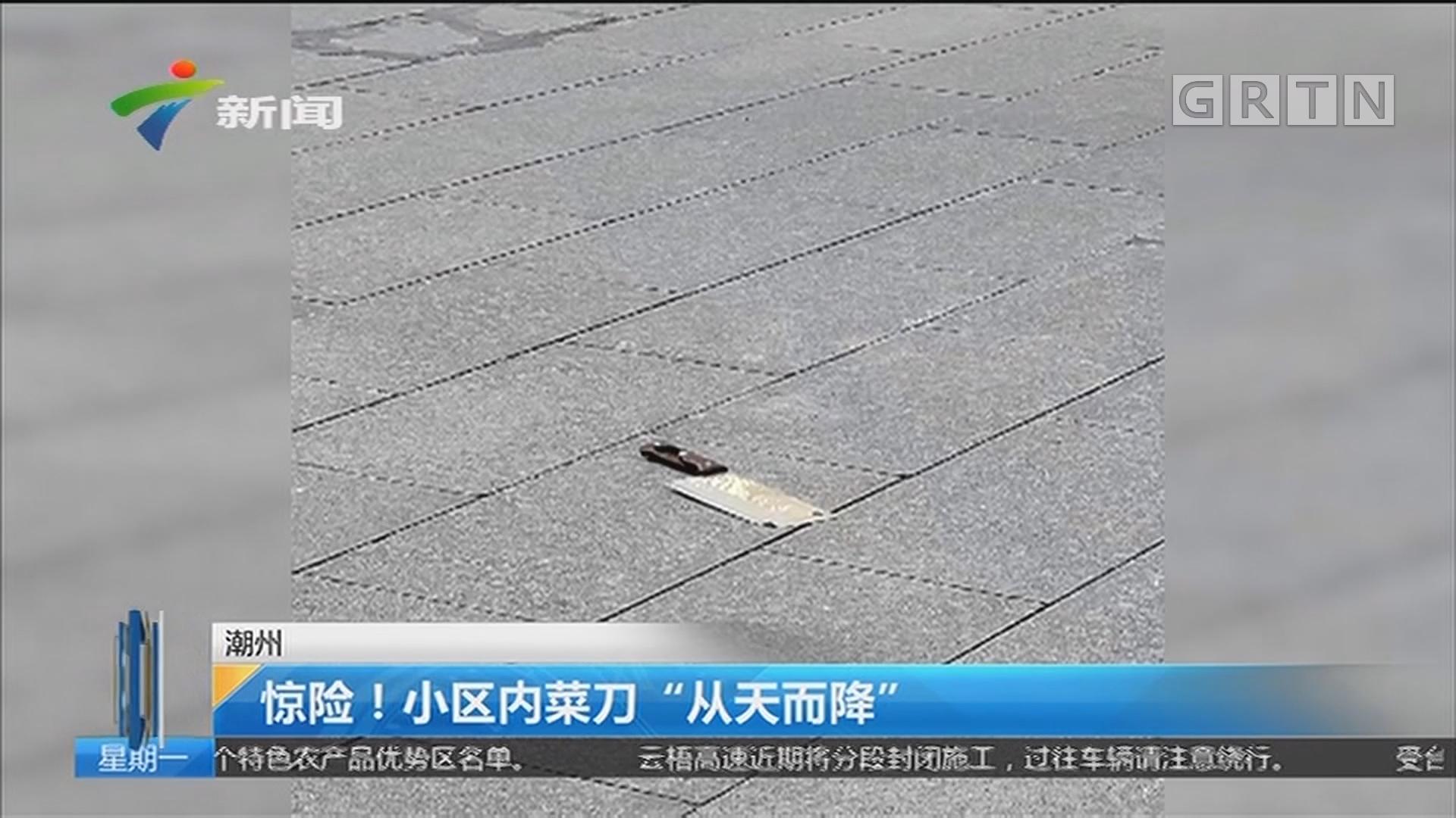 """潮州:惊险!小区内菜刀""""从天而降"""""""
