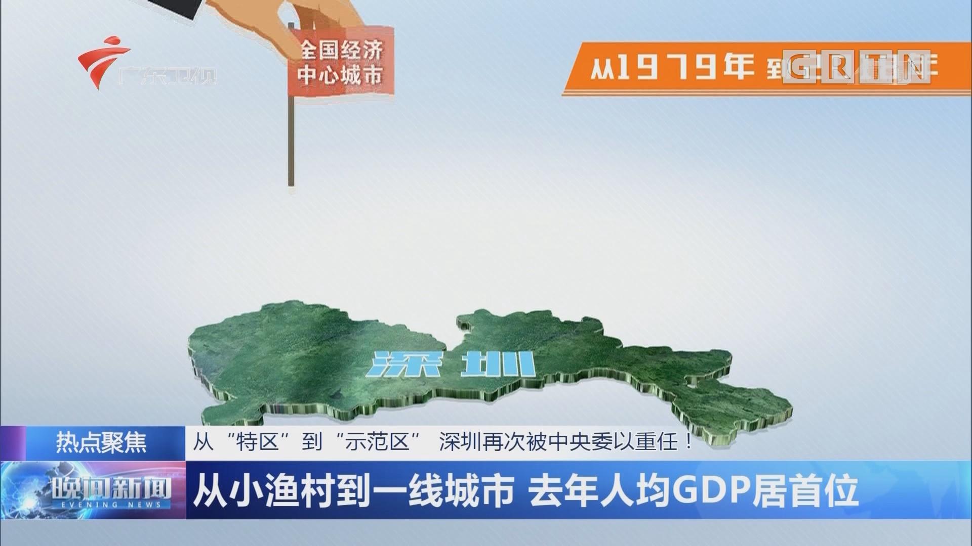 """从""""特区""""到""""示范区"""" 深圳再次被中央委以重任! 从小渔村到一线城市 去年人均GDP居首位"""