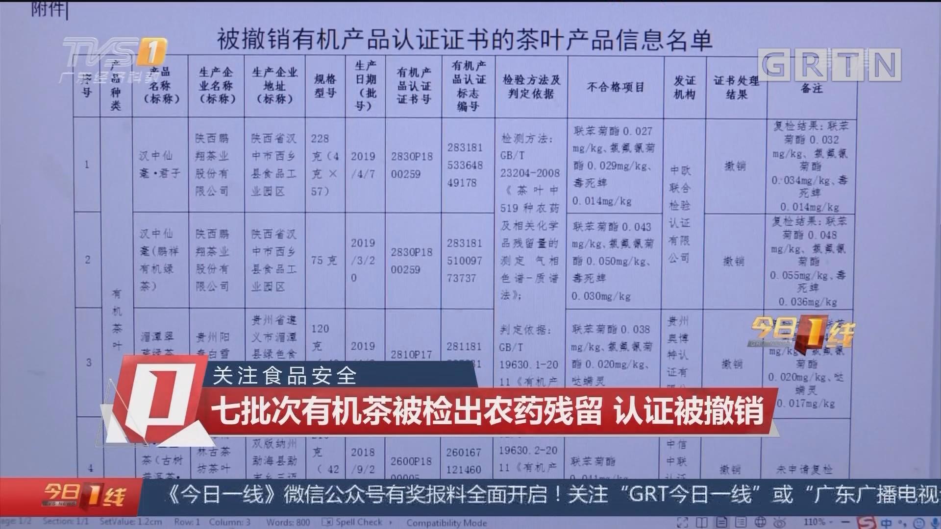 关注食品安全 七批次有机茶被检出农药残留 认证被撤销
