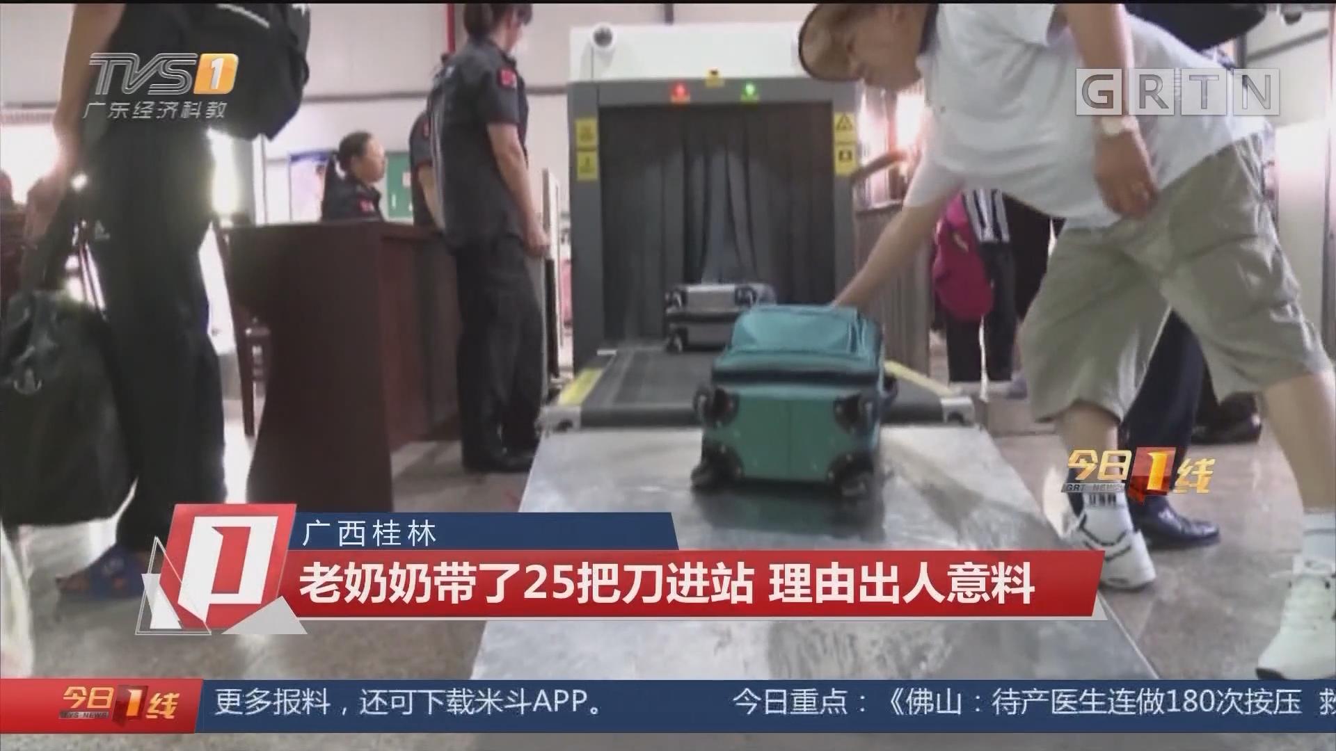 广西桂林:老奶奶带了25把刀进站 理由出人意料