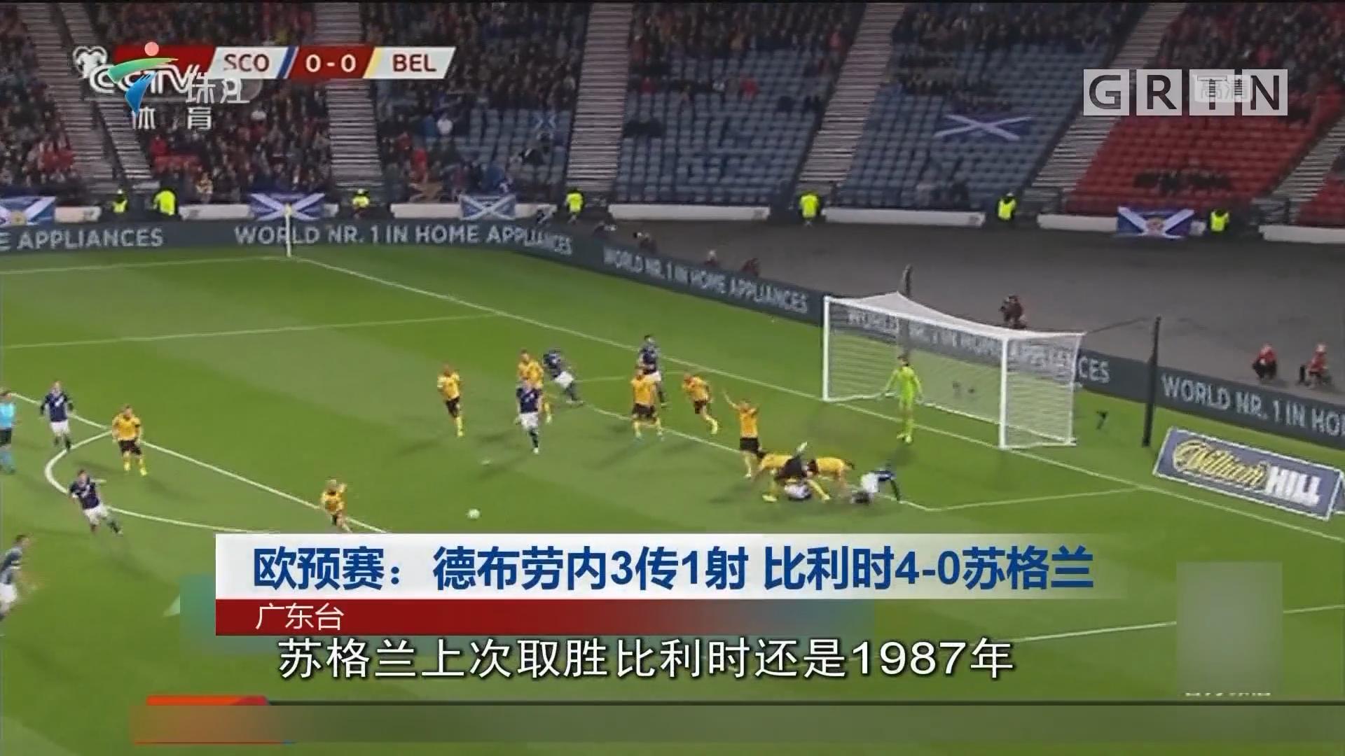欧预赛:德布劳内3传1射 比利时4-0苏格兰
