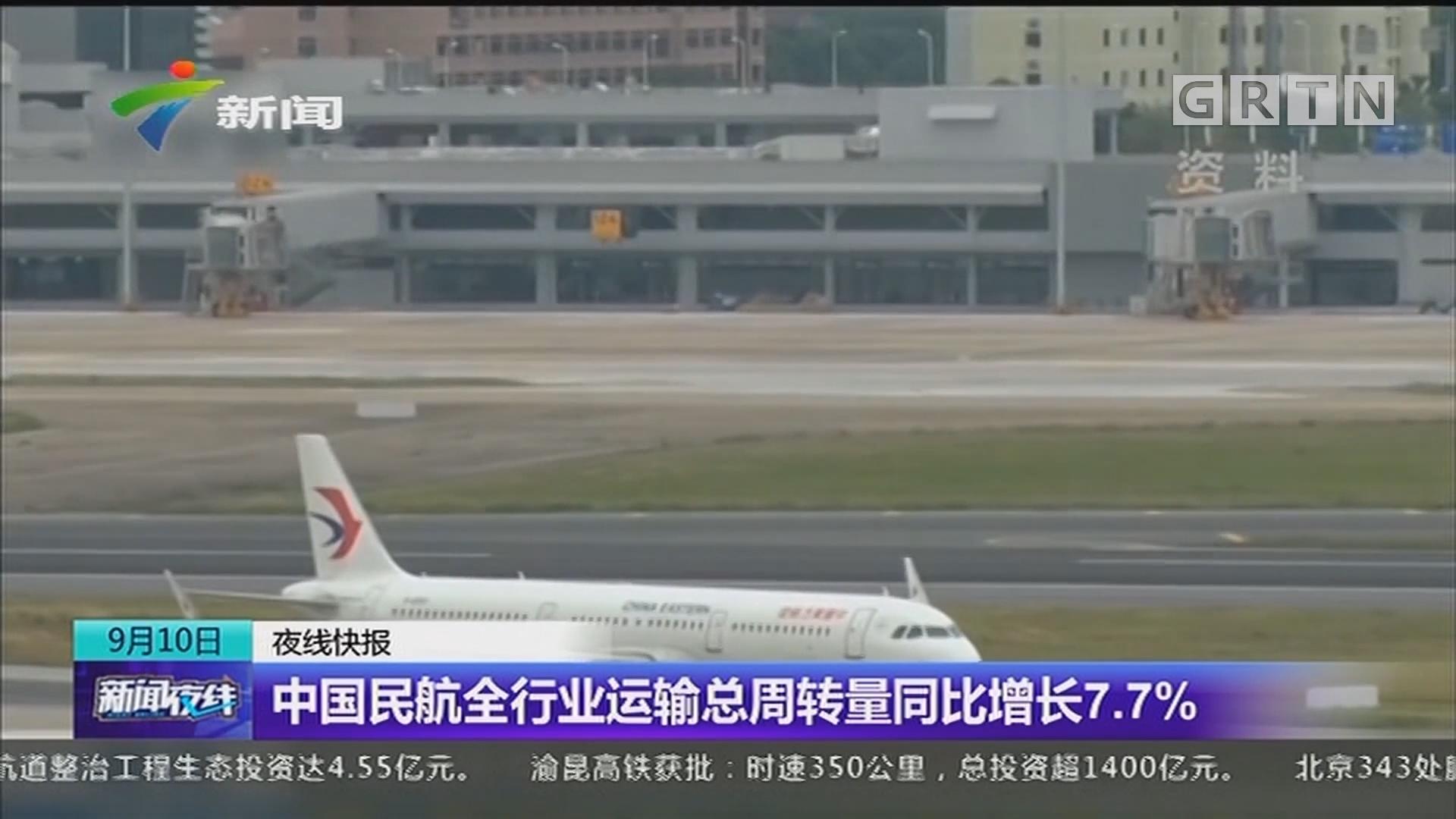 中国民航全行业运输总周转量同比增长7.7%