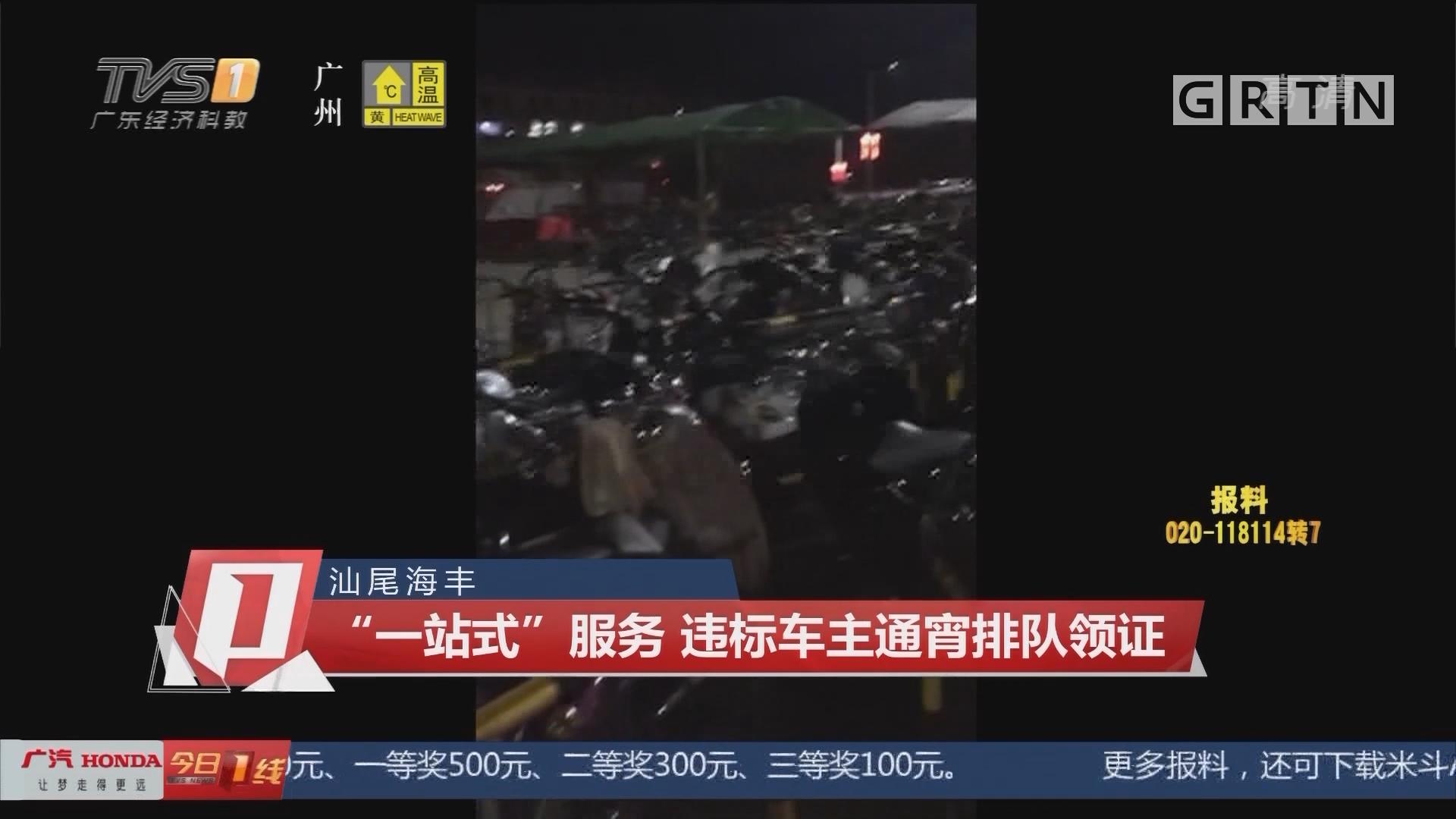 """汕尾海丰:""""一站式""""服务 违标车主通宵排队领证"""