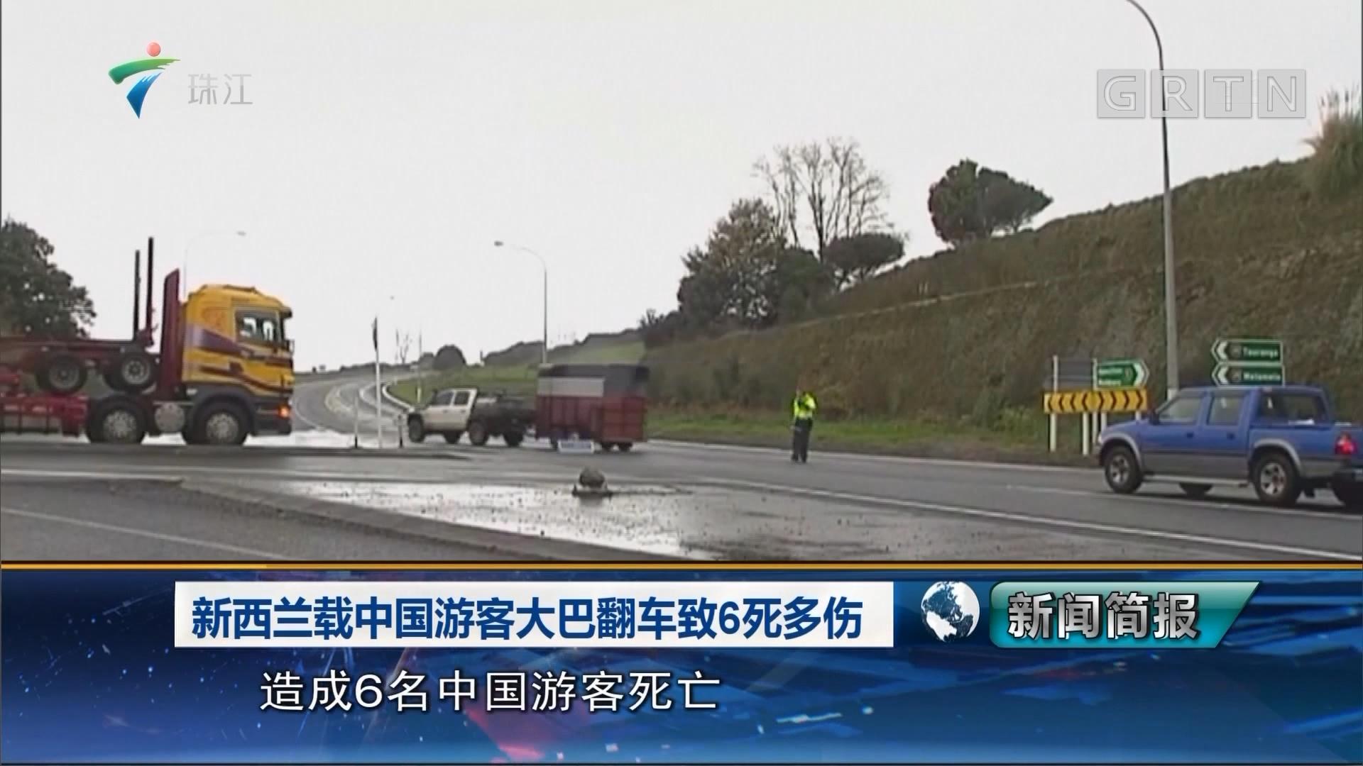 新西兰载中国游客大巴翻车致6死多伤