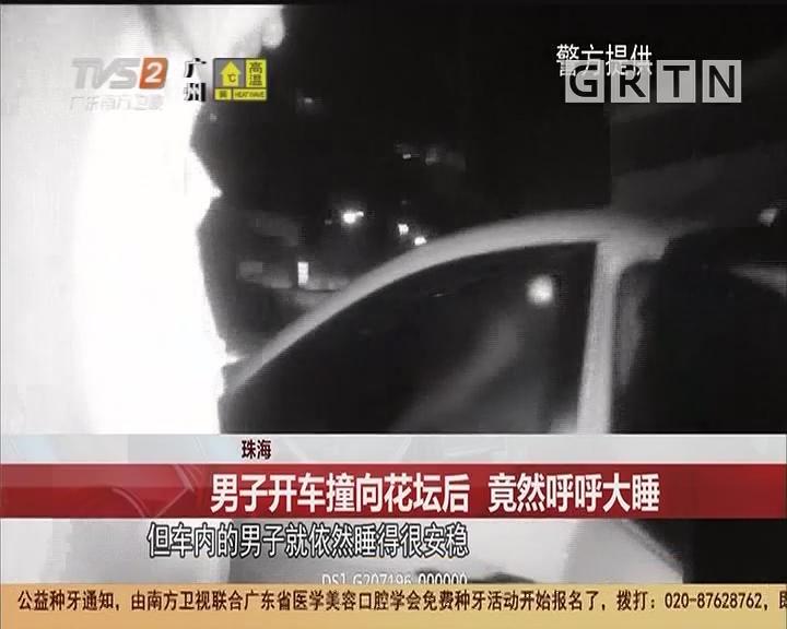 珠海:男子开车撞向花坛后 竟然呼呼大睡