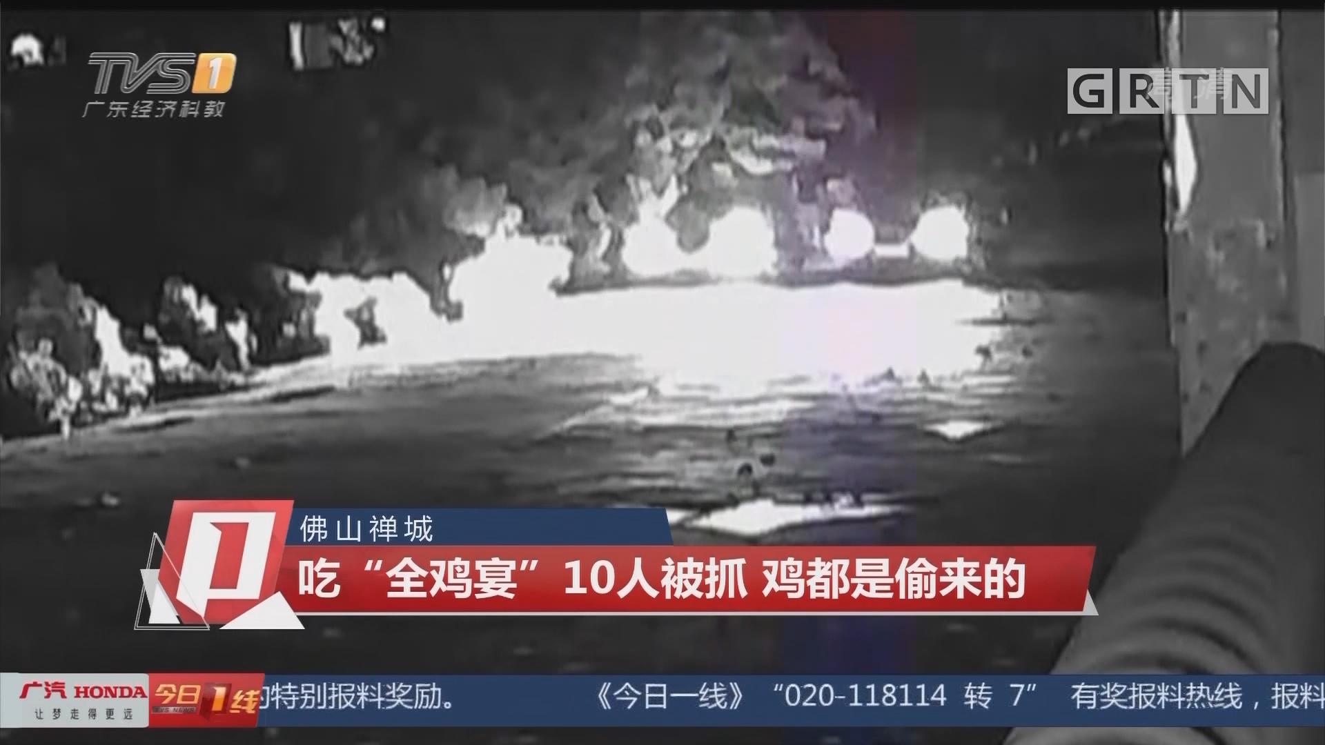 """佛山禅城:吃""""全鸡宴""""10人被抓 鸡都是偷来的"""