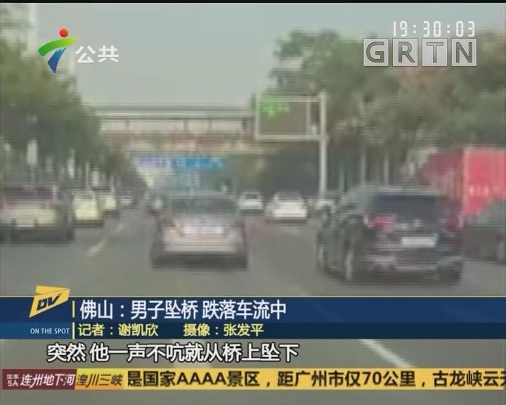 (DV现场)佛山:男子坠桥 跌落车流中