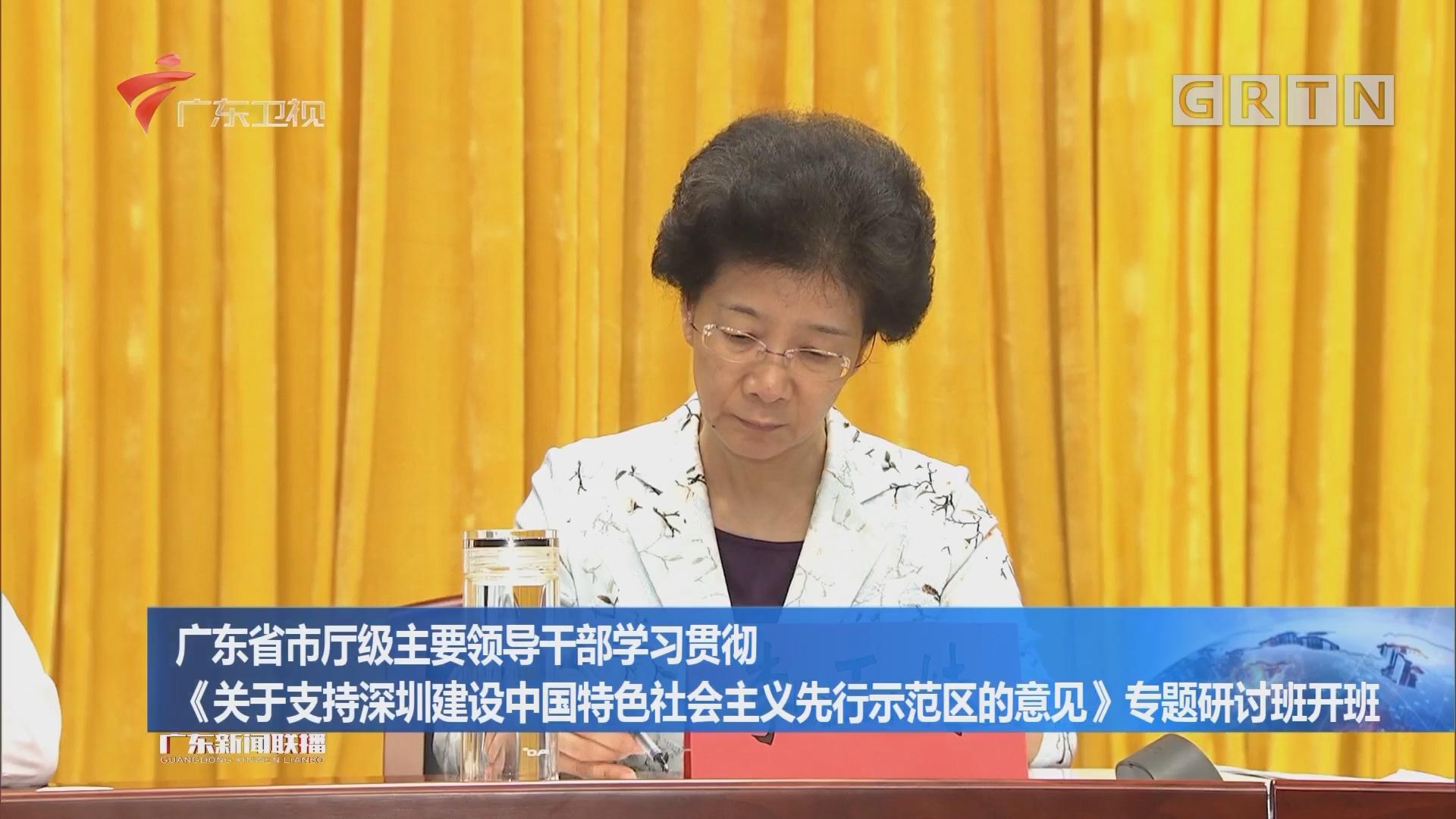 广东省市厅级主要领导干部学习贯彻《关于支持深圳建设中国特色社会主义先行示范区的意见》专题研讨班开班