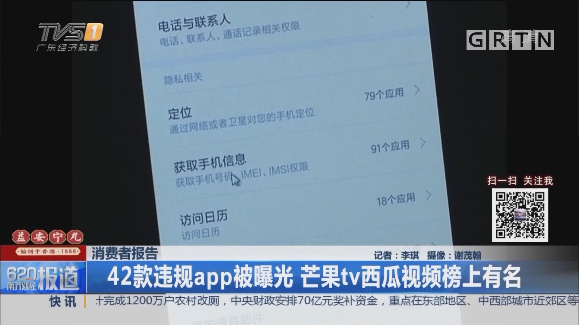 消费者报告:42款违规app被曝光 芒果tv西瓜视频榜上有名