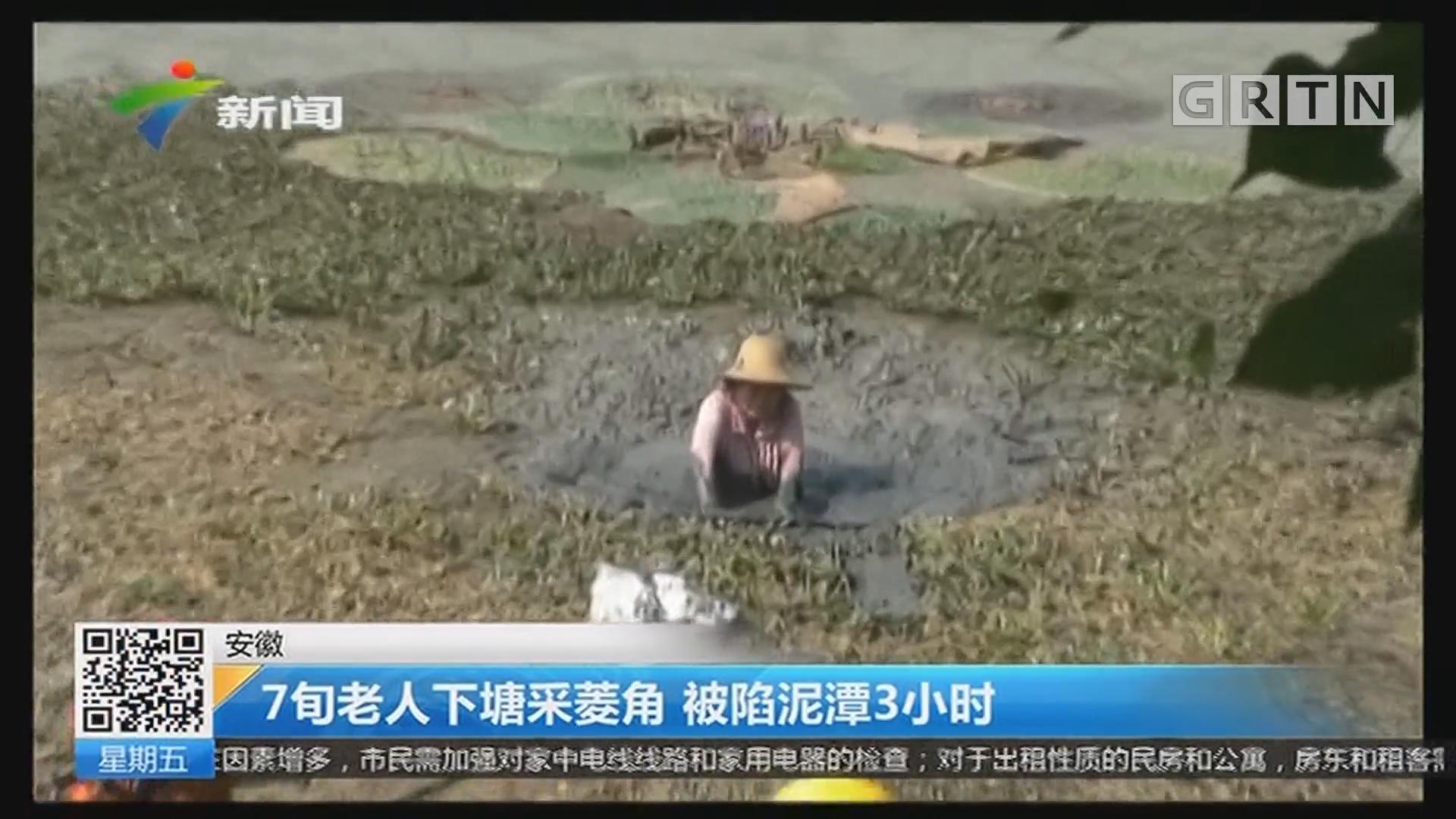 安徽:7旬老人下塘采菱角 被陷泥潭3小时