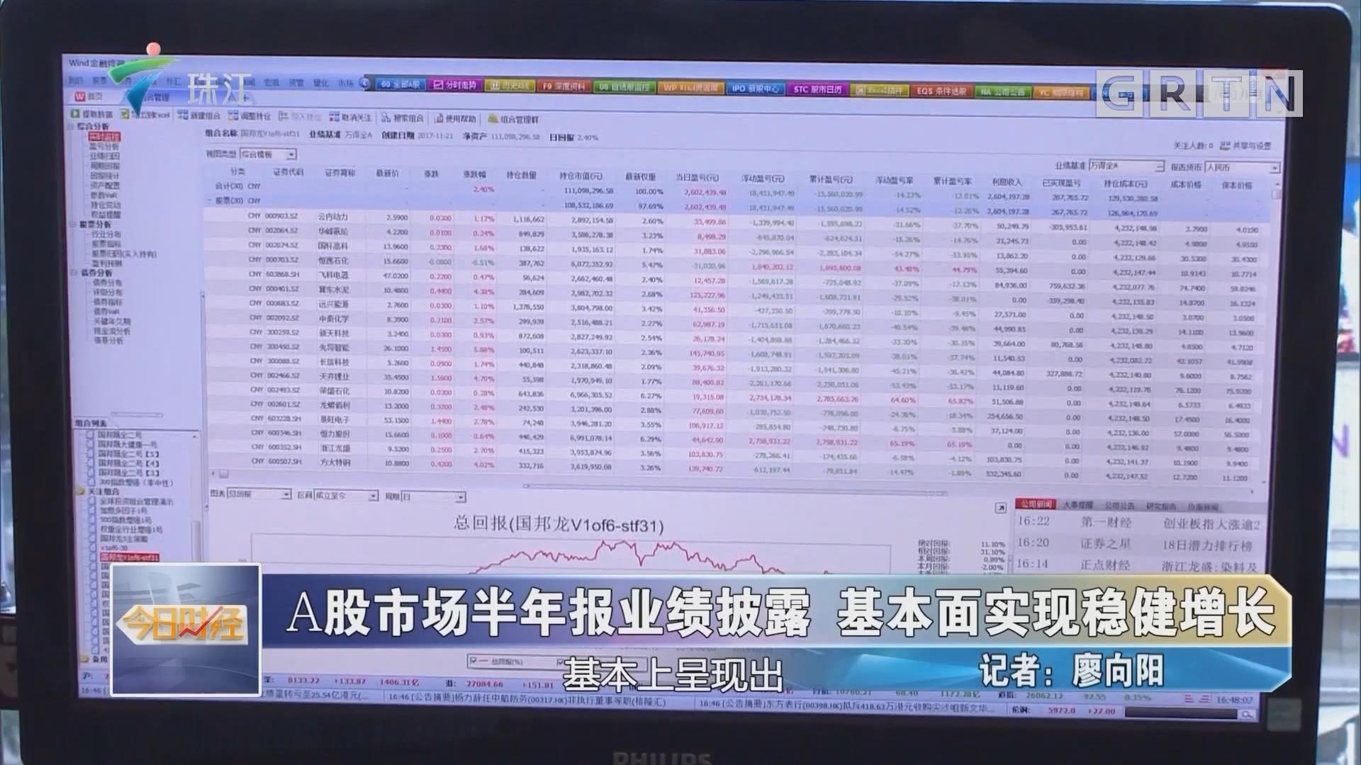 A股市场半年报业绩披露 基本面实现稳健增长