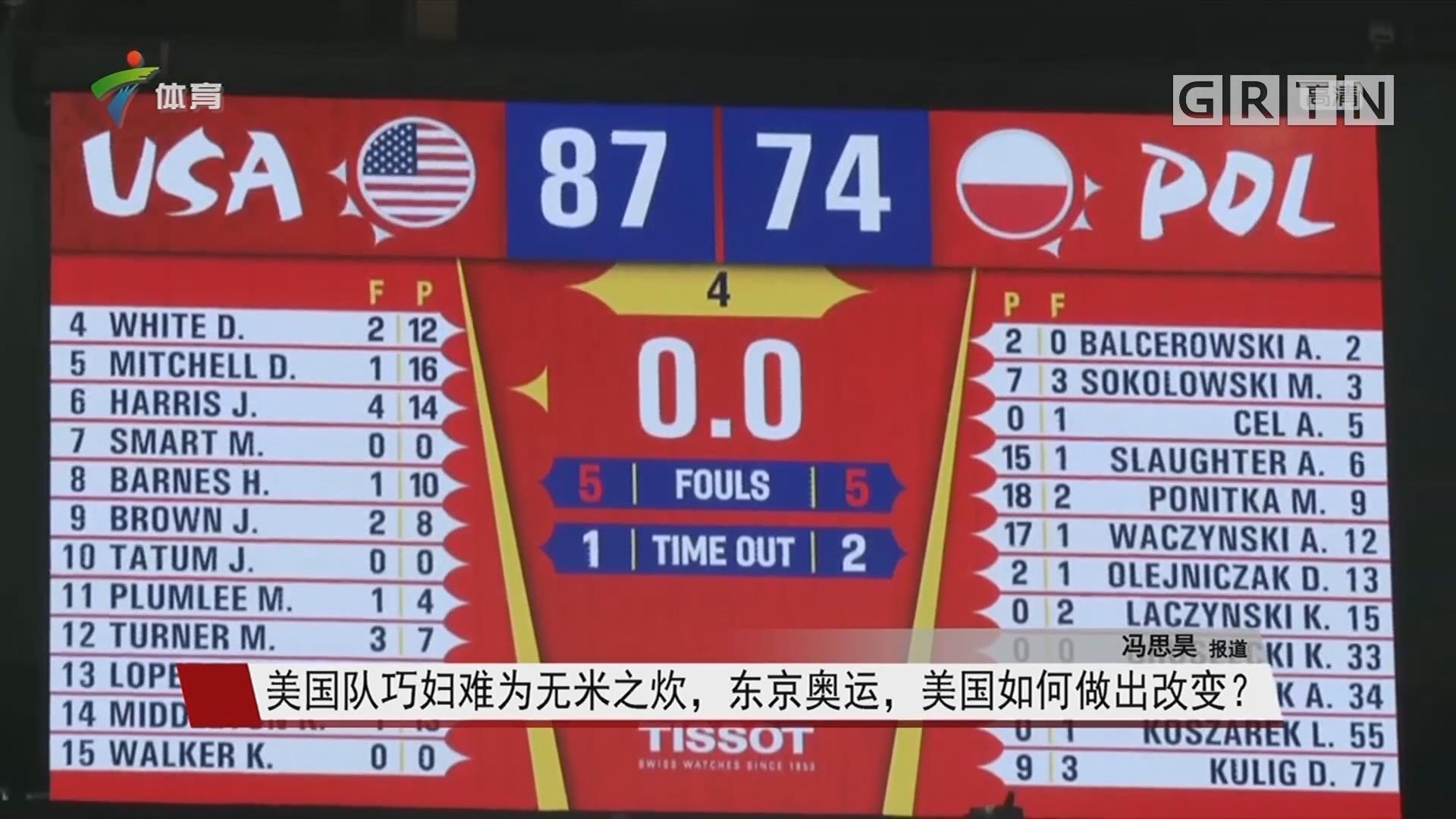 美国队巧妇难为无米之炊,东京奥运,美国如何做出改变?