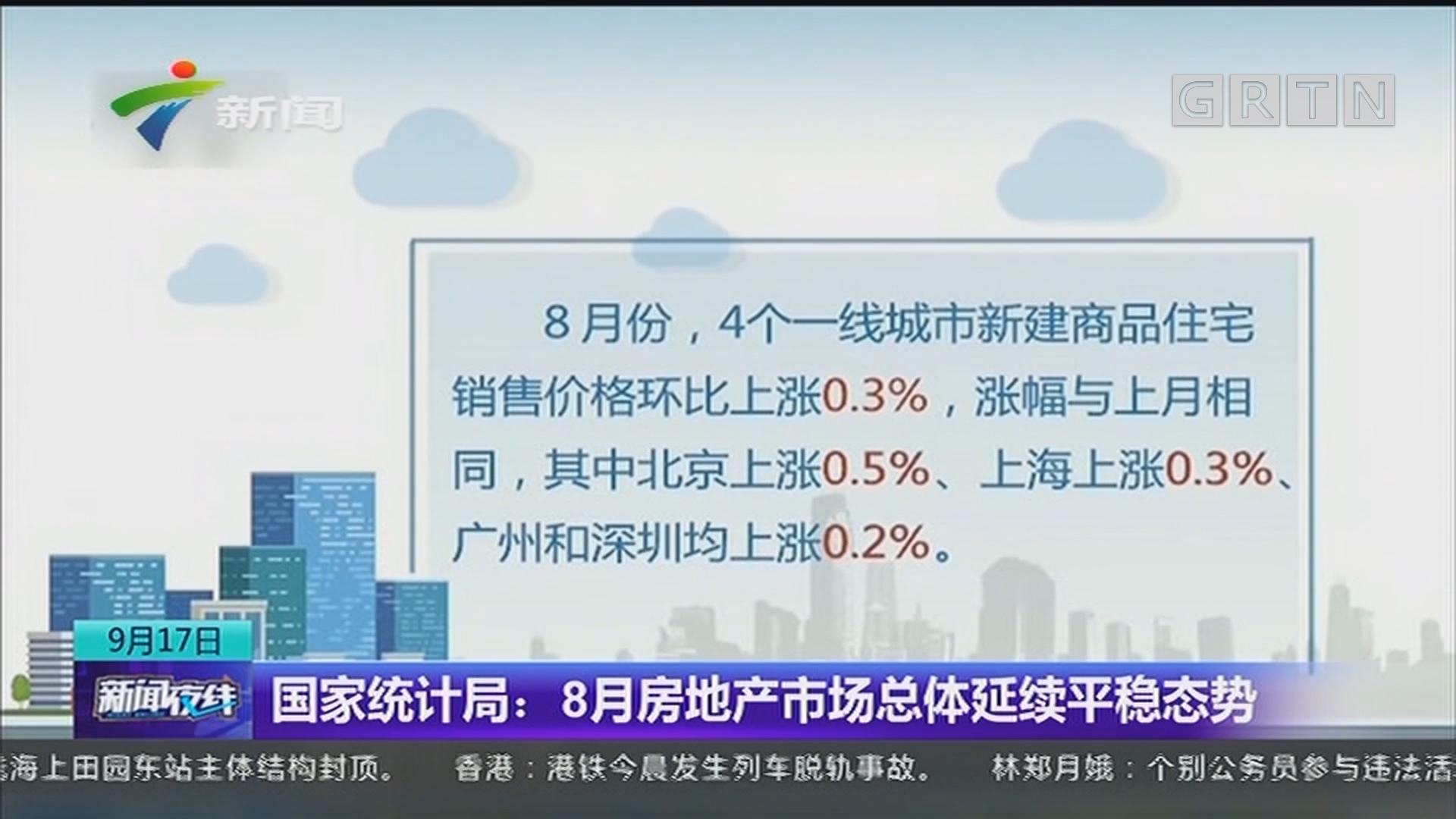 国家统计局:8月房地产市场总体延续平稳态势